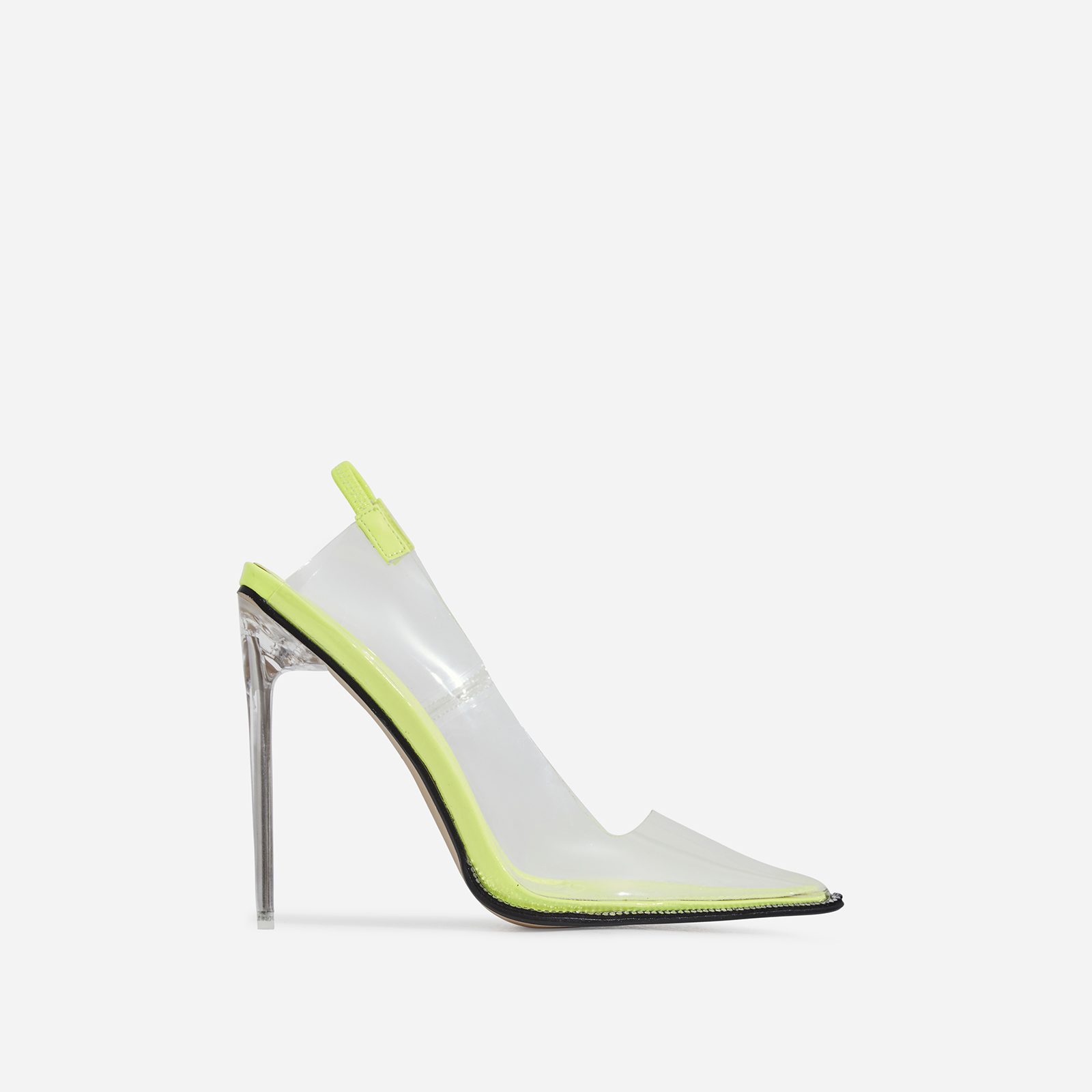 Amor Perspex Diamante Detail Heel In Lime Green Patent