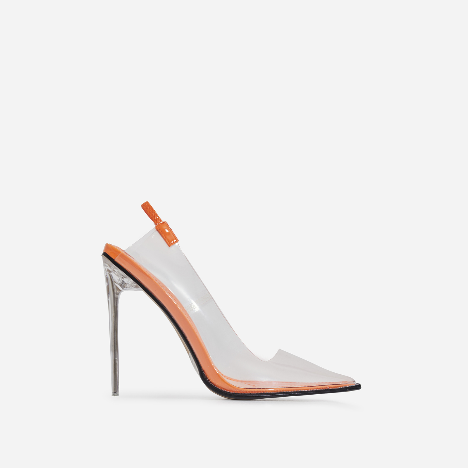 Amor Perspex Diamante Detail Heel In Orange Patent
