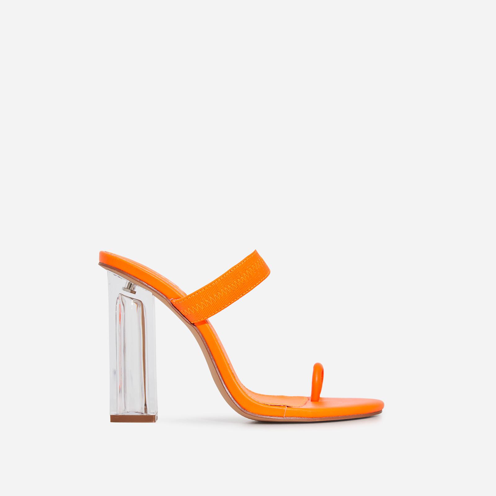 Amy Toe Strap Perspex Block Heel Mule In Neon Orange Faux Leather