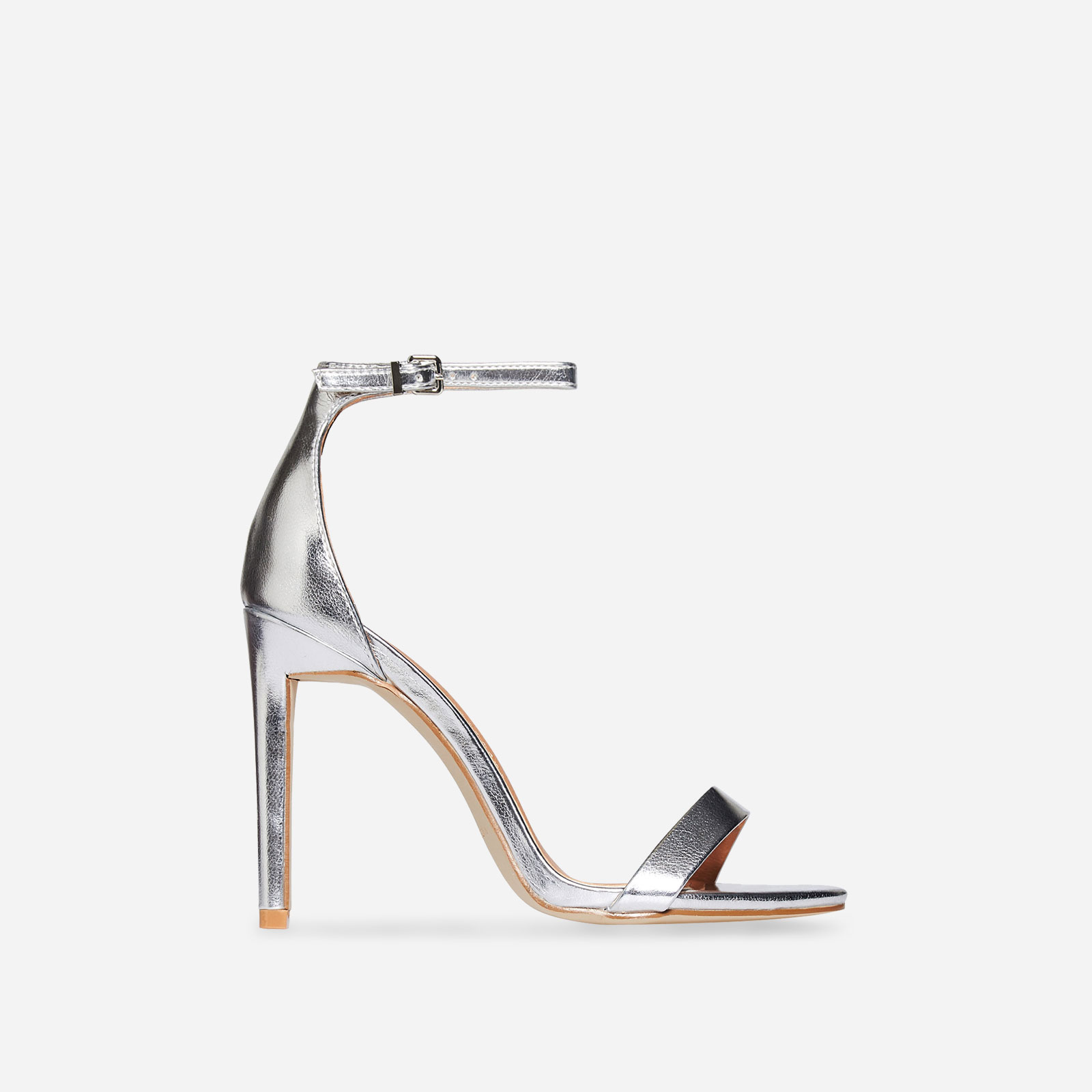 Angel Barely There Heel In Silver Faux Leather Image 1