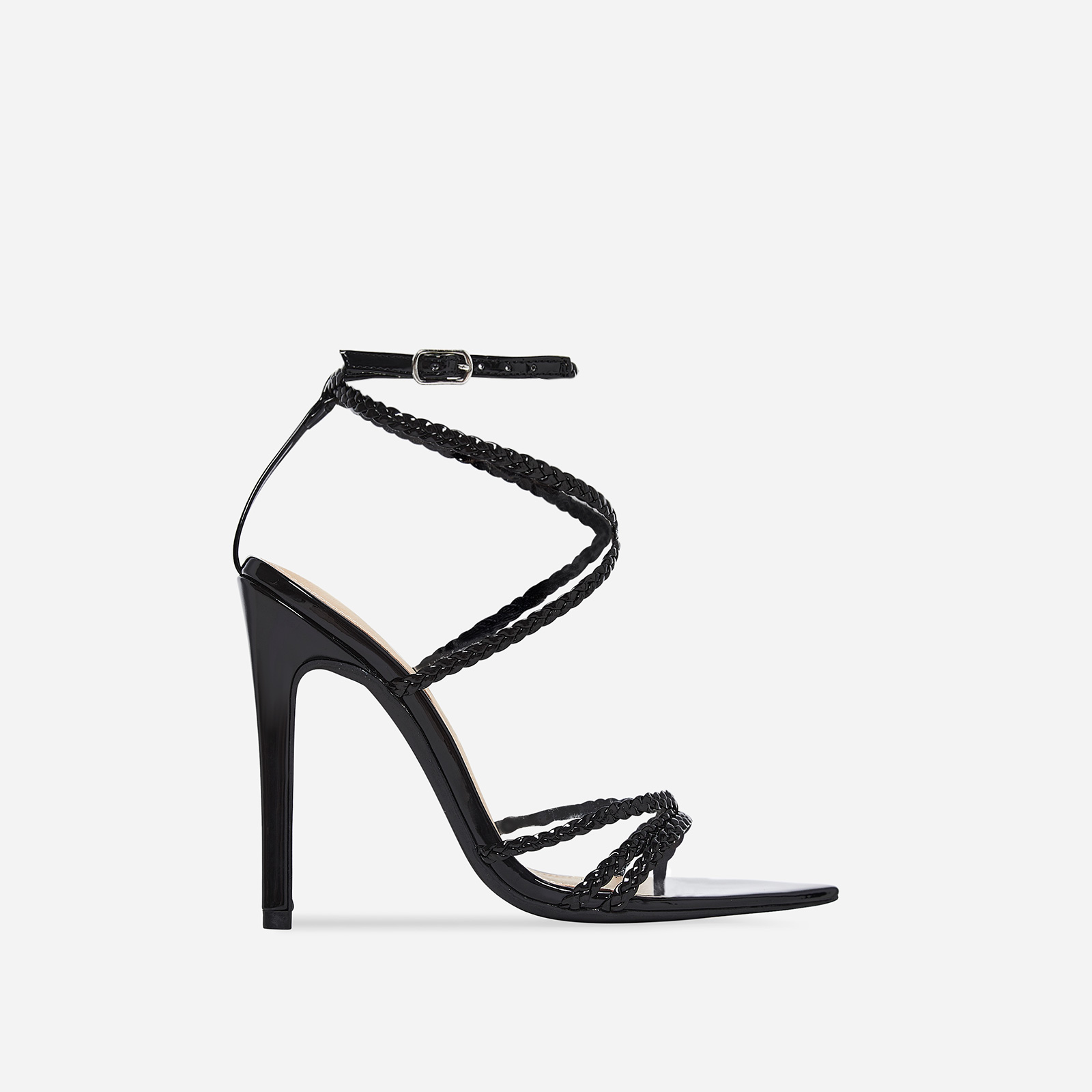 Angela Plaited Pointed Heel In Black Patent