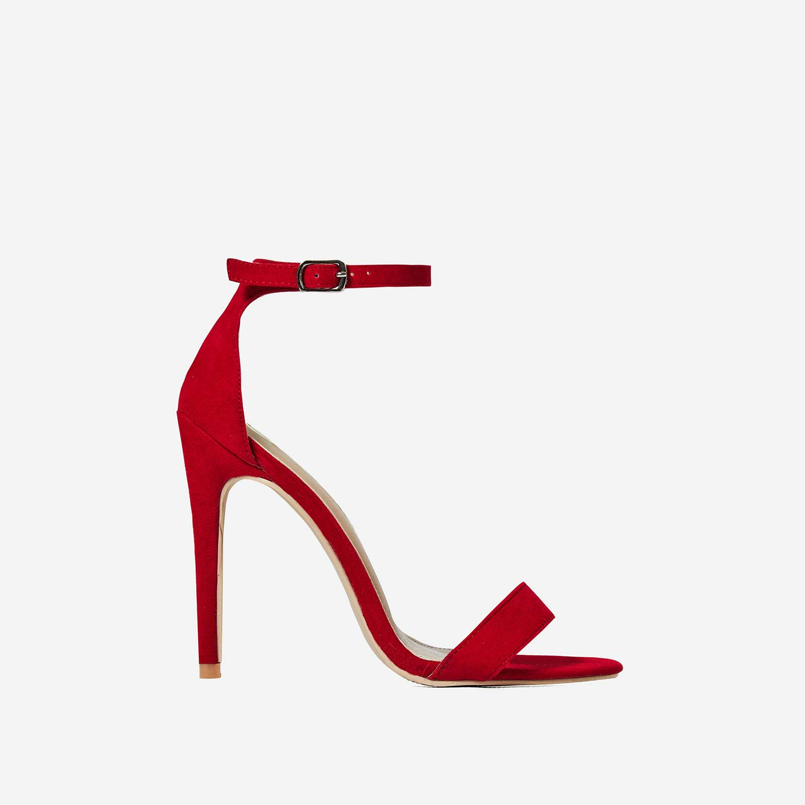 Angel Barely There Heel In Red Faux Suede