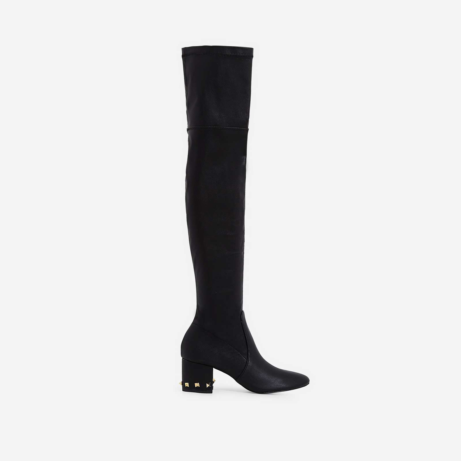 Anna Studded Detail Over The Knee Long Boot In Black Faux Leather
