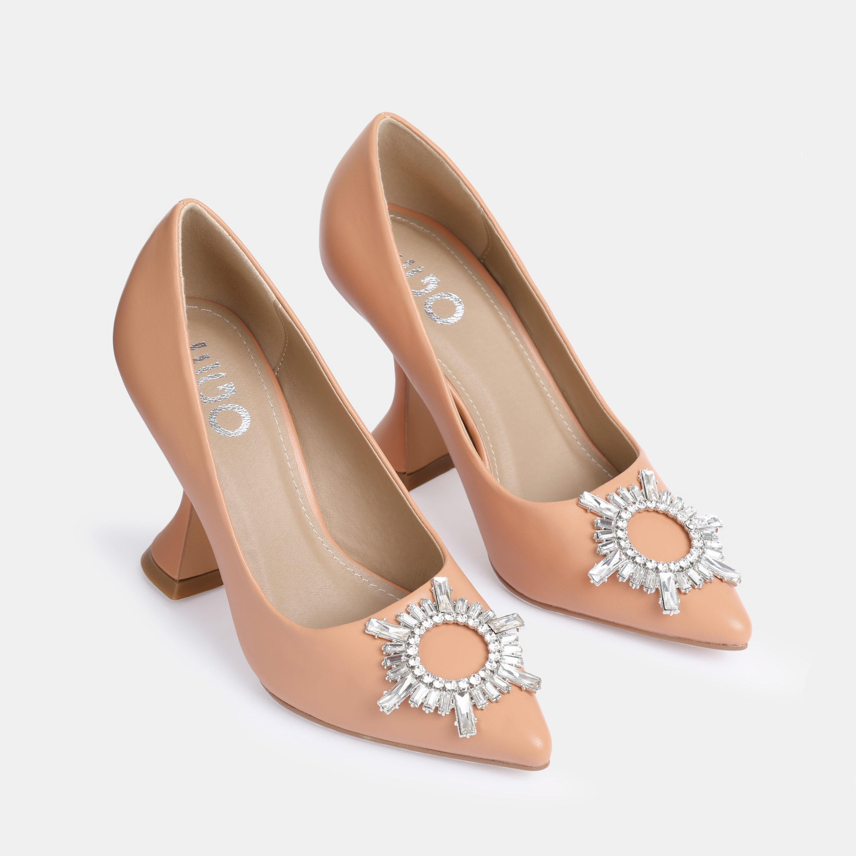Lavish Diamante Detail Pyramid Court Heel In Nude Faux Leather