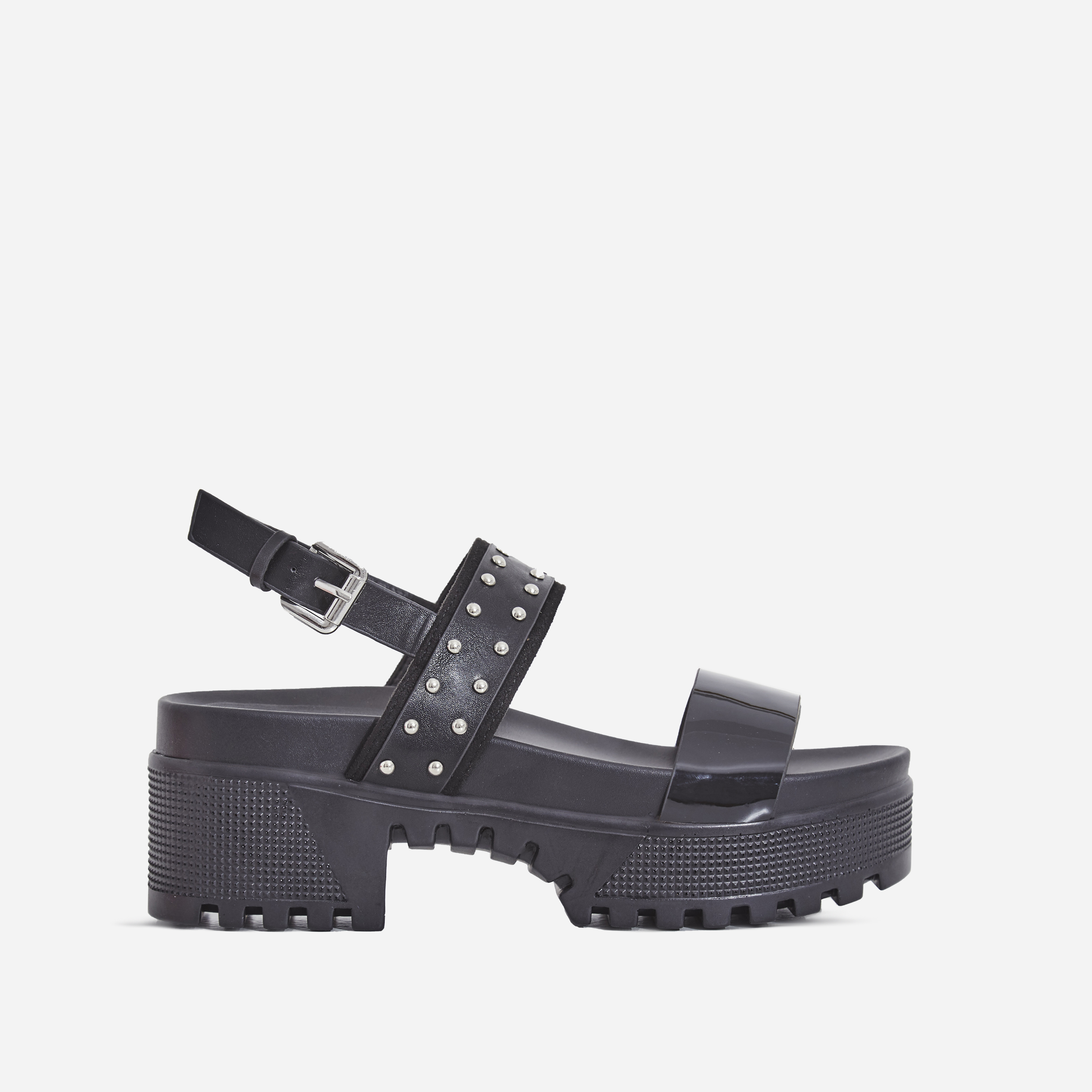 Ariel Patent Studded Detail Chunky Sole Sandal In Black Faux Leather