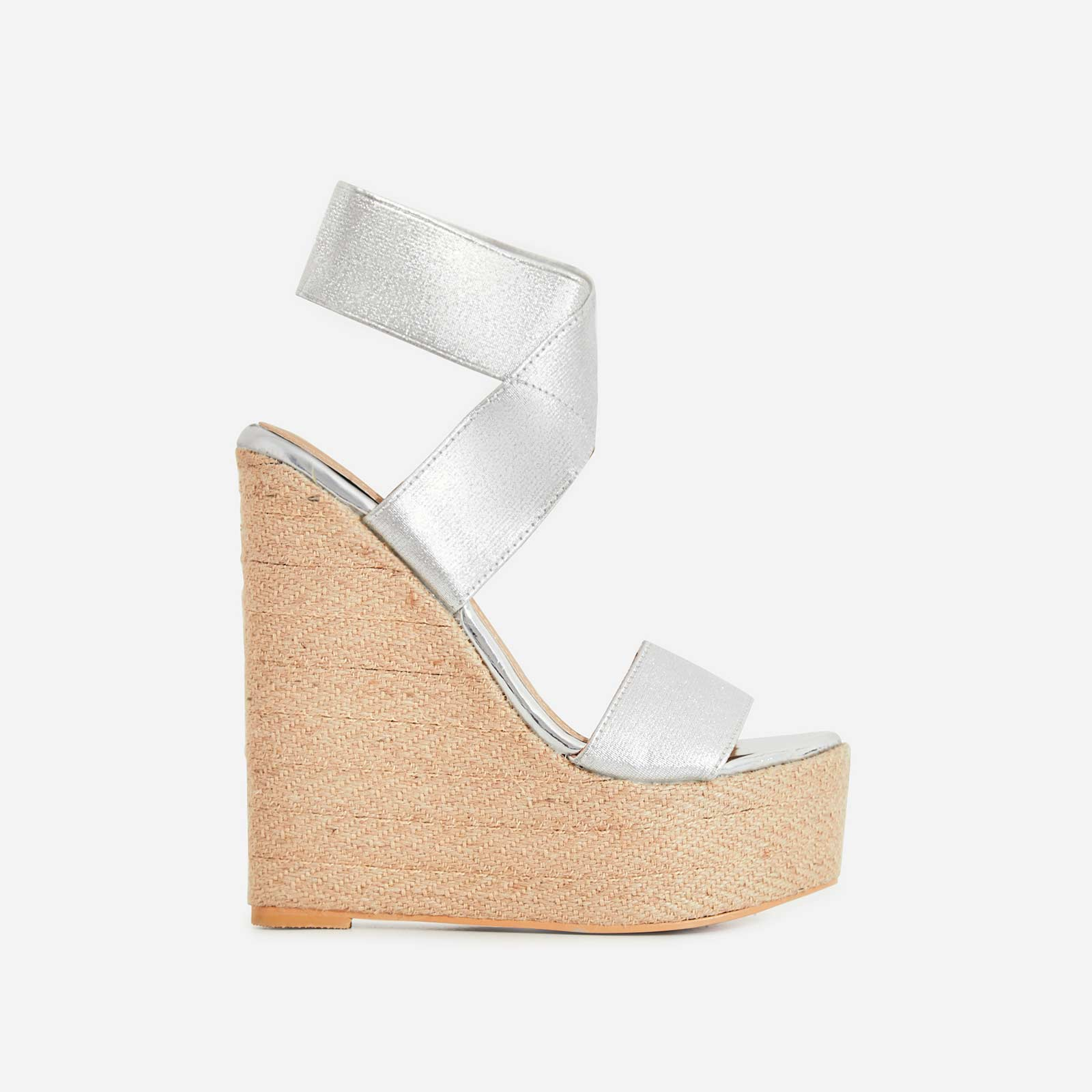 Astrid Espadrille Wedge Heel In Silver Faux Leather