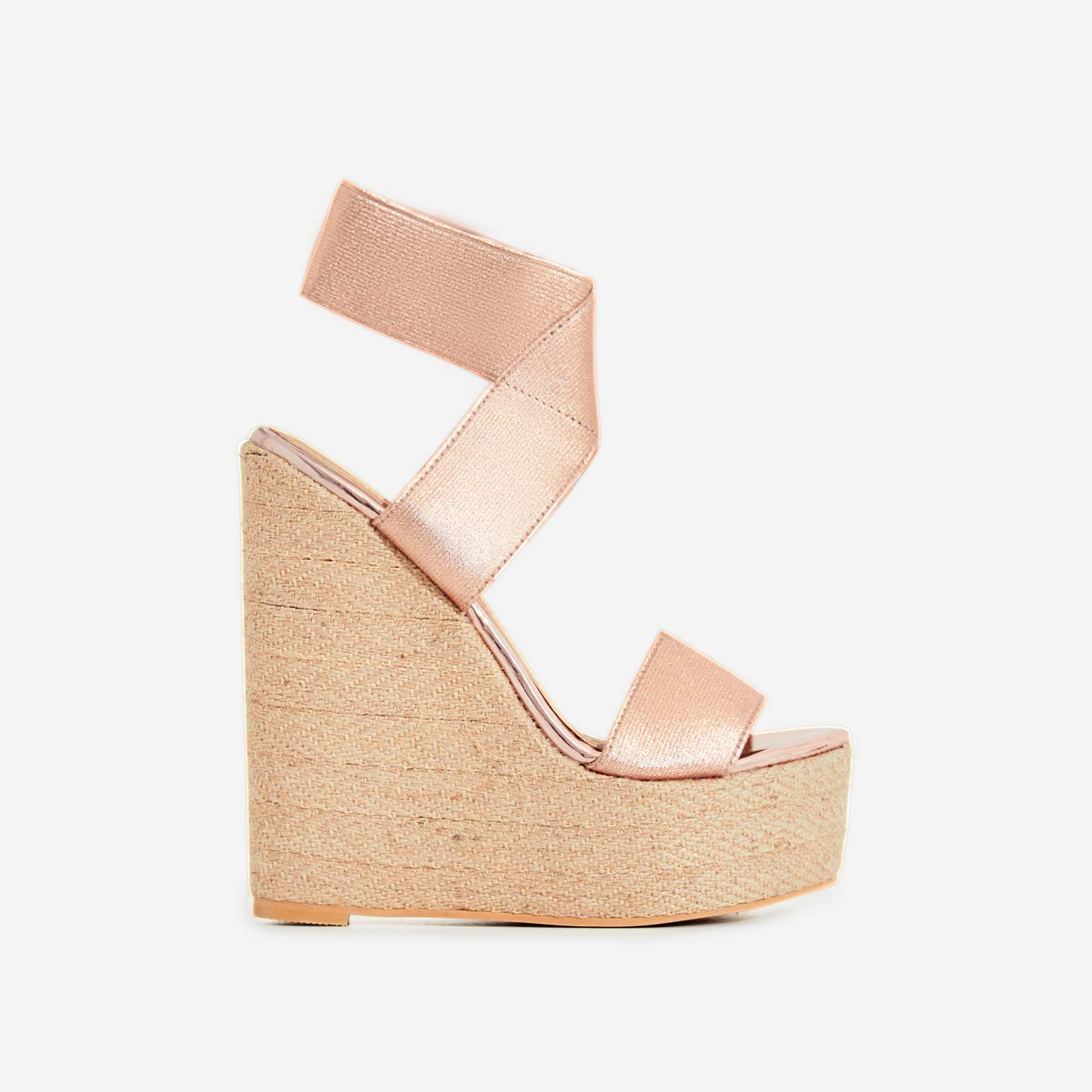Astrid Espadrille Wedge Heel In Rose Gold Faux Leather