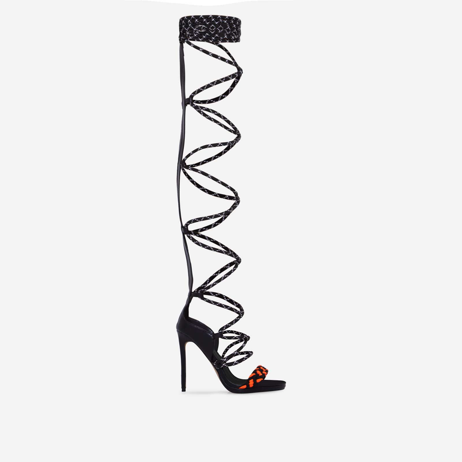 Astro Thigh High Lace Up Heel In Black Faux Leather