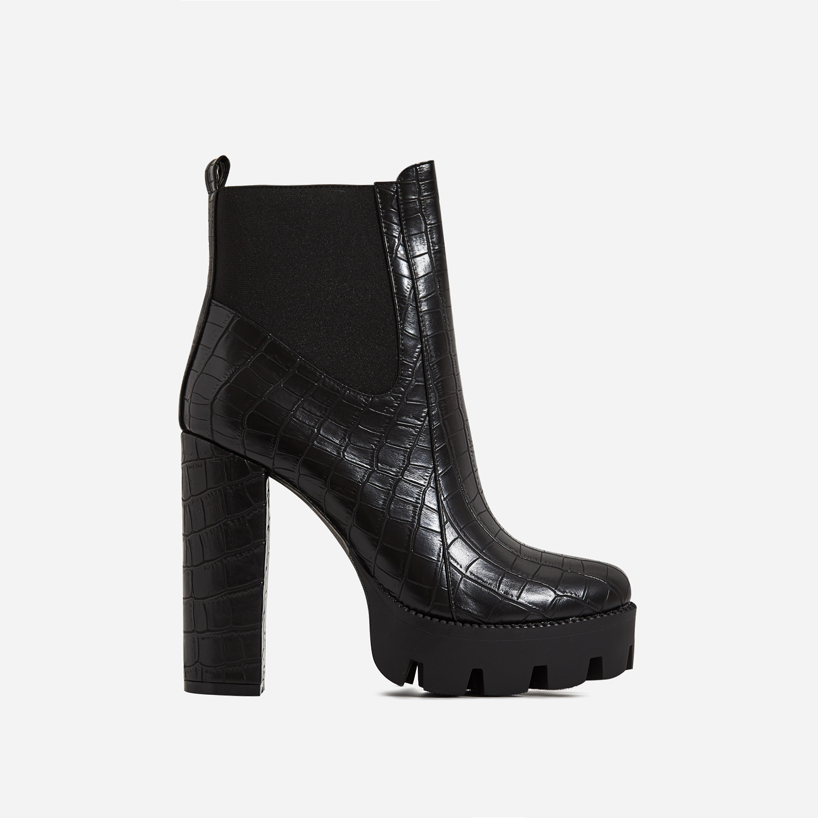 Atlas Platform Biker Boot In Black Croc Print Faux Leather