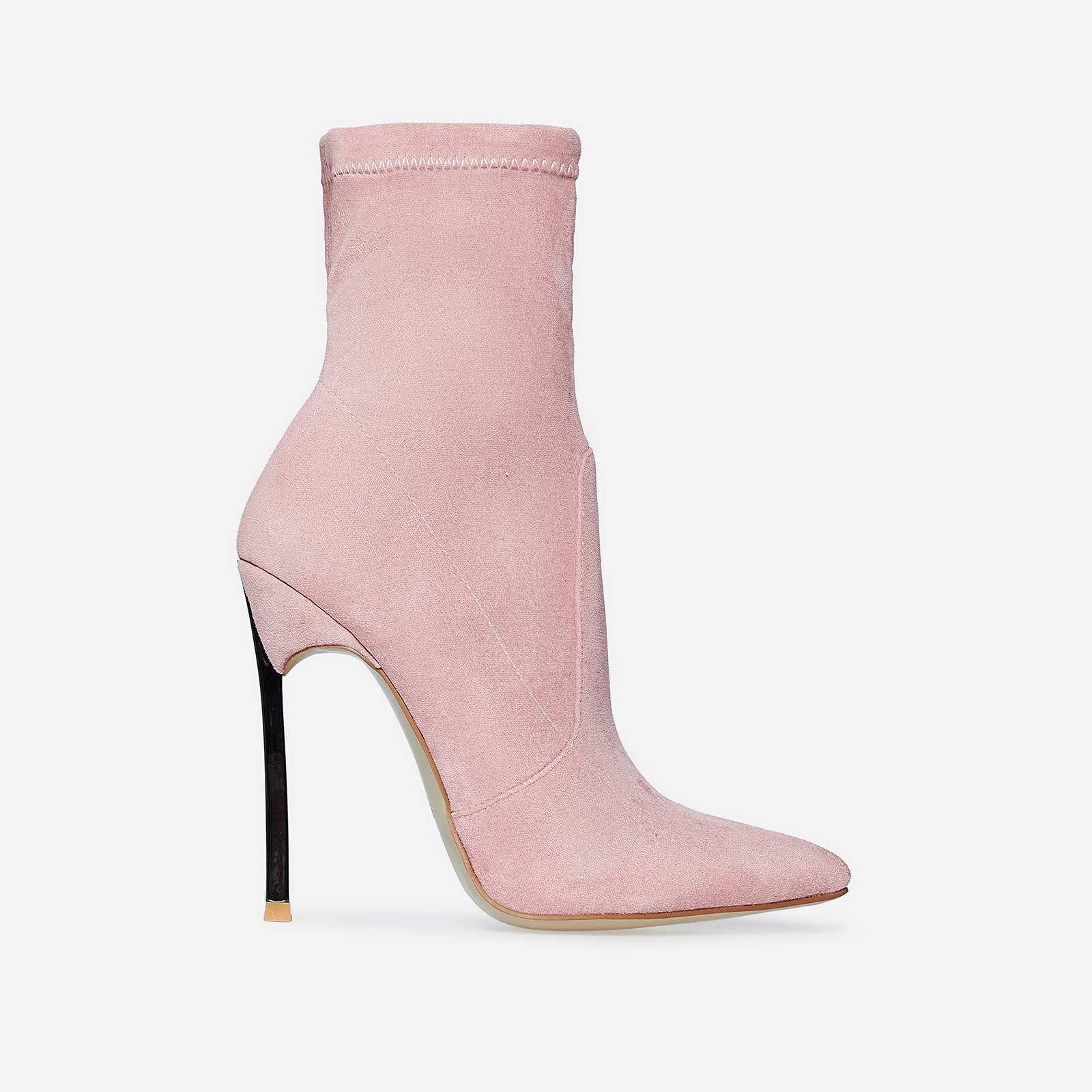 Ava Skinny Heel Pointed Toe Sock Boot In Rose Pink Faux Suede