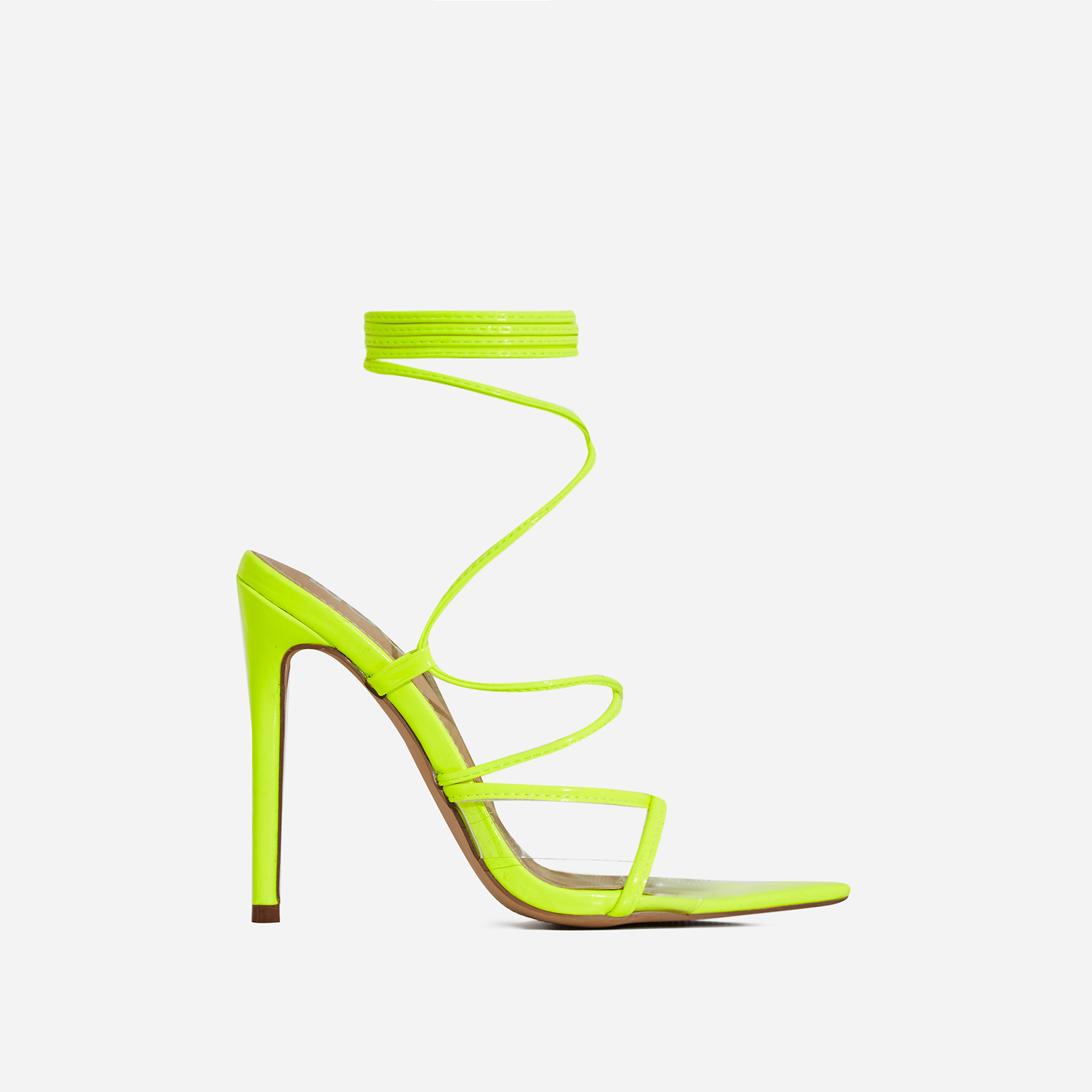 Ava Perspex Lace Up Heel In Lime Green Patent
