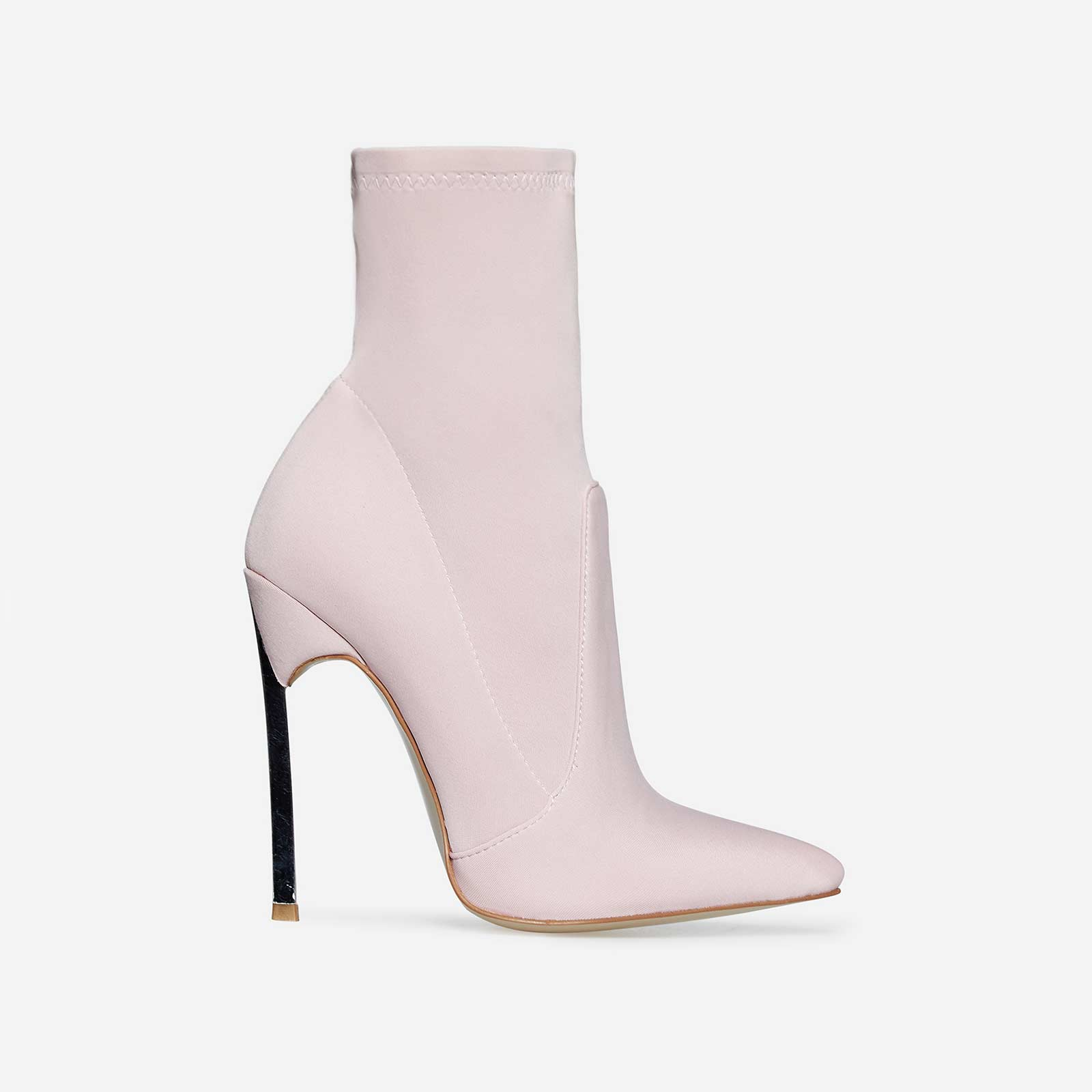 Ava Skinny Heel Pointed Toe Sock Boot In Lavender Lycra