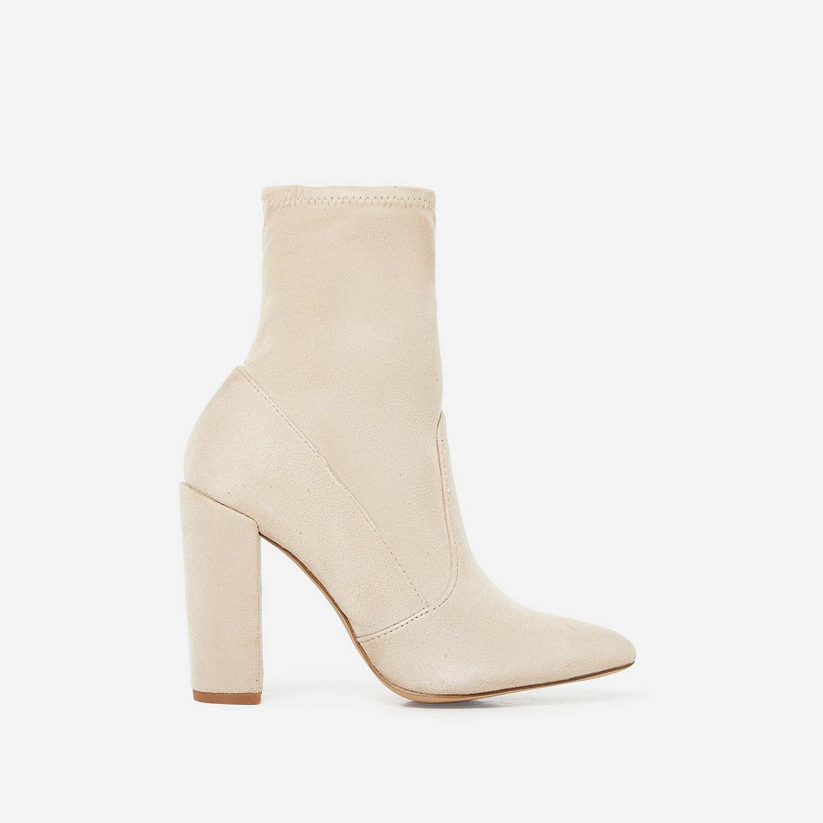 Avery Block Heel Sock Boot In Nude Faux Suede