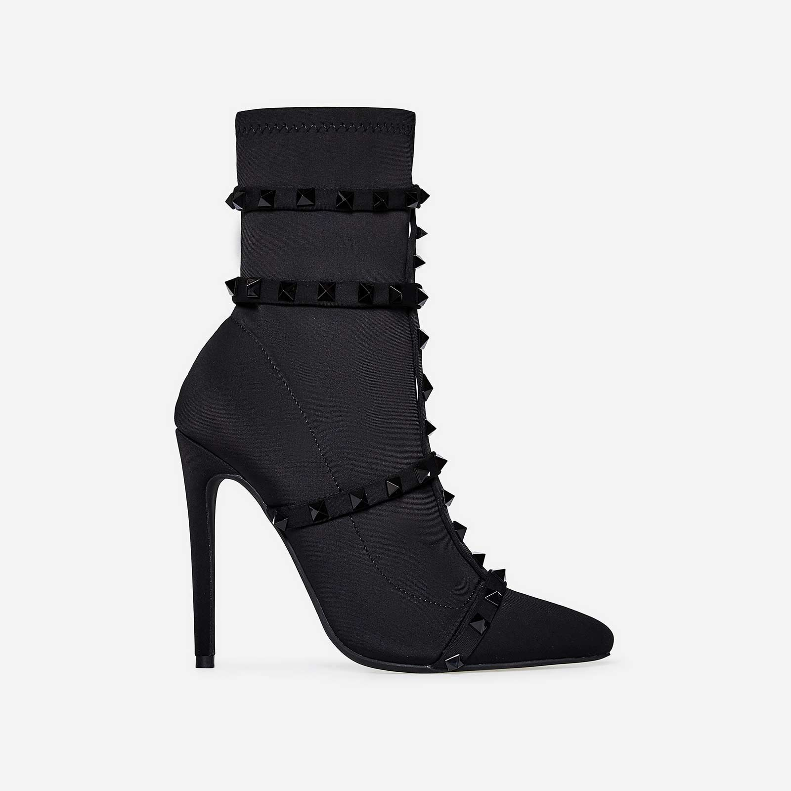 Axel Studded Detail Sock Boot In Black Lycra
