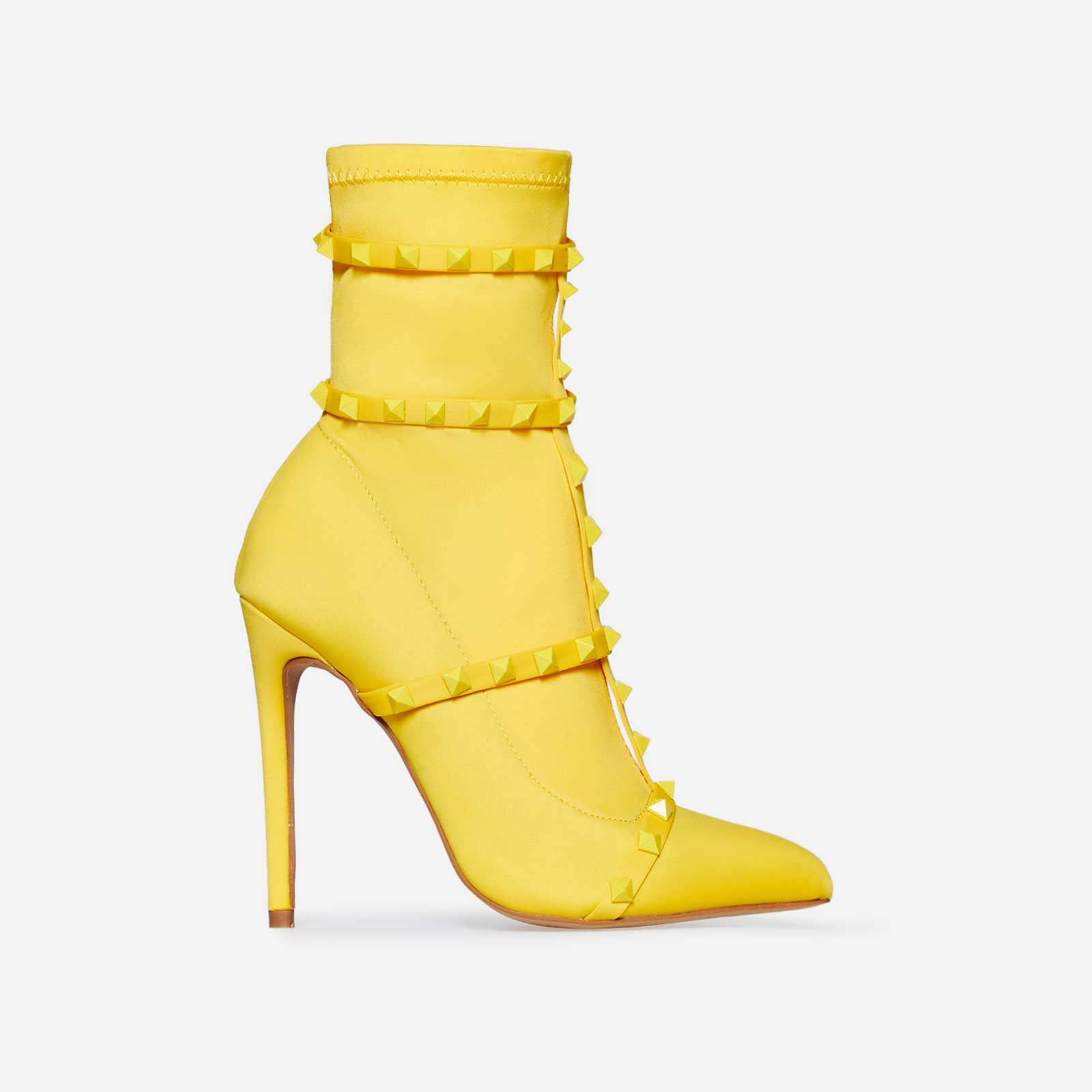 Axel Studded Detail Sock Boot In Yellow Lycra