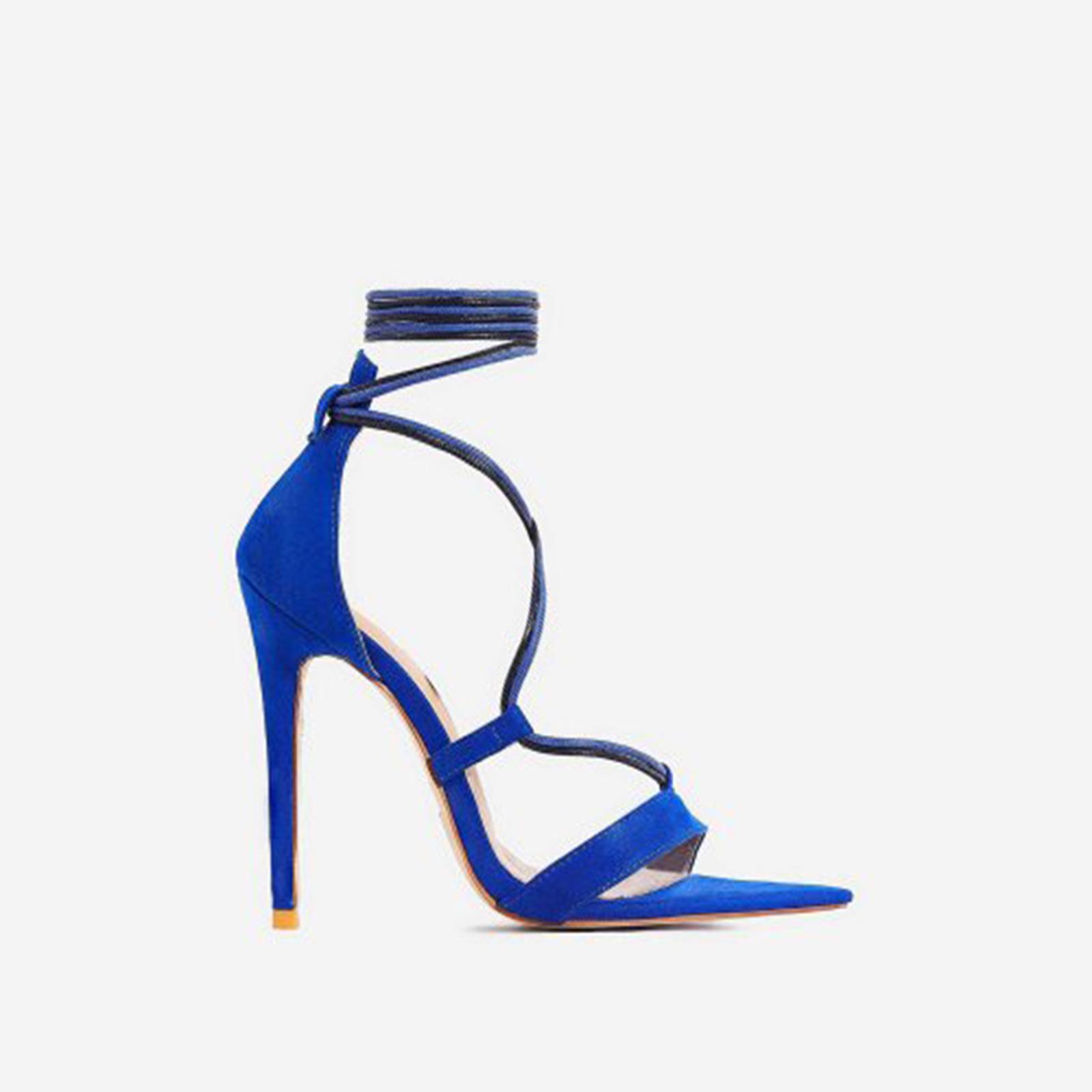 Azalea Double Lace Up Heel In Blue Faux Suede