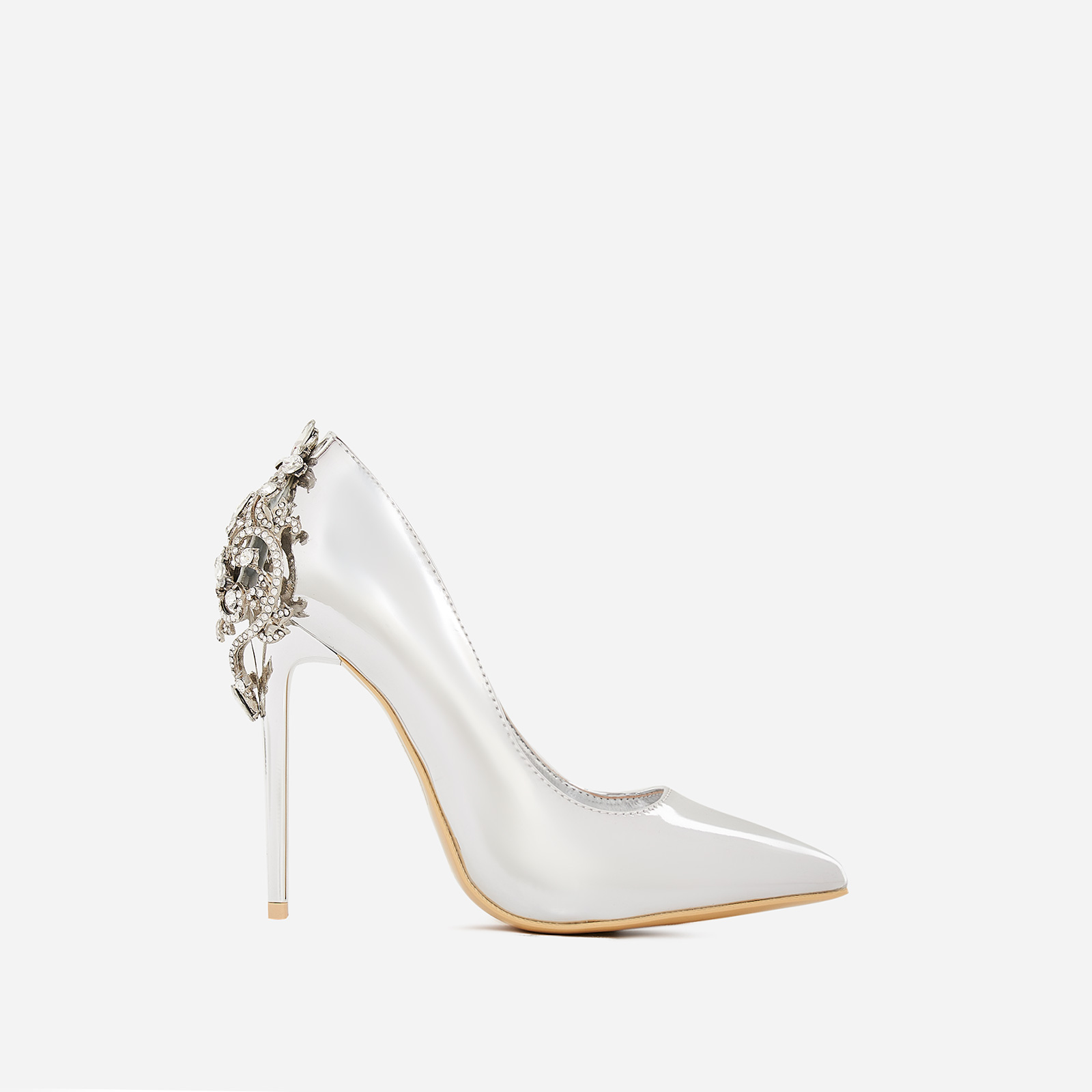 Aries Jewel Embellished Court Heel In Metallic Silver Patent