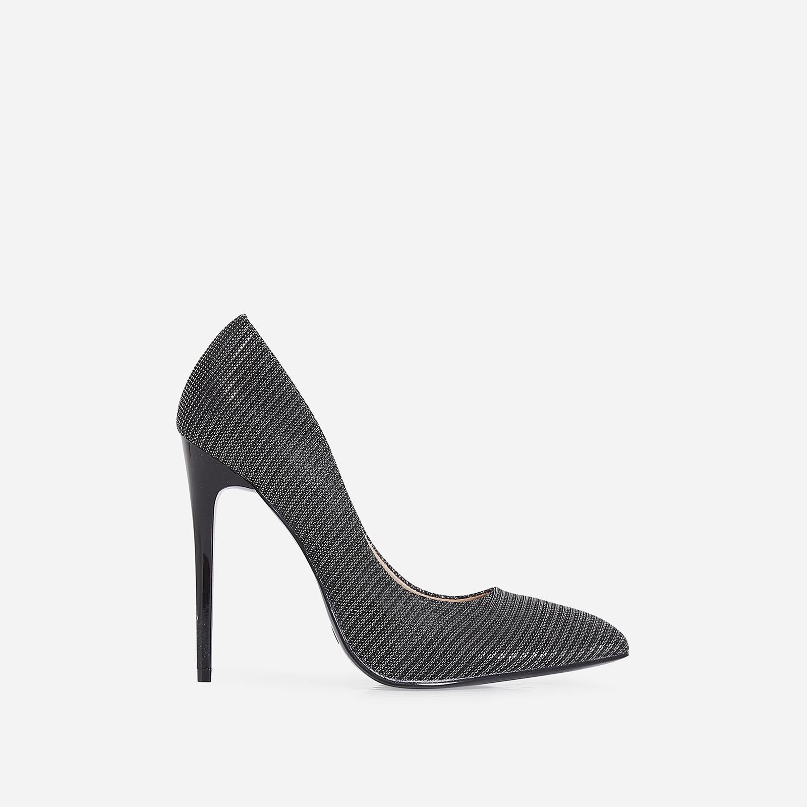 Mira Court Heel In Metallic Black Fabric