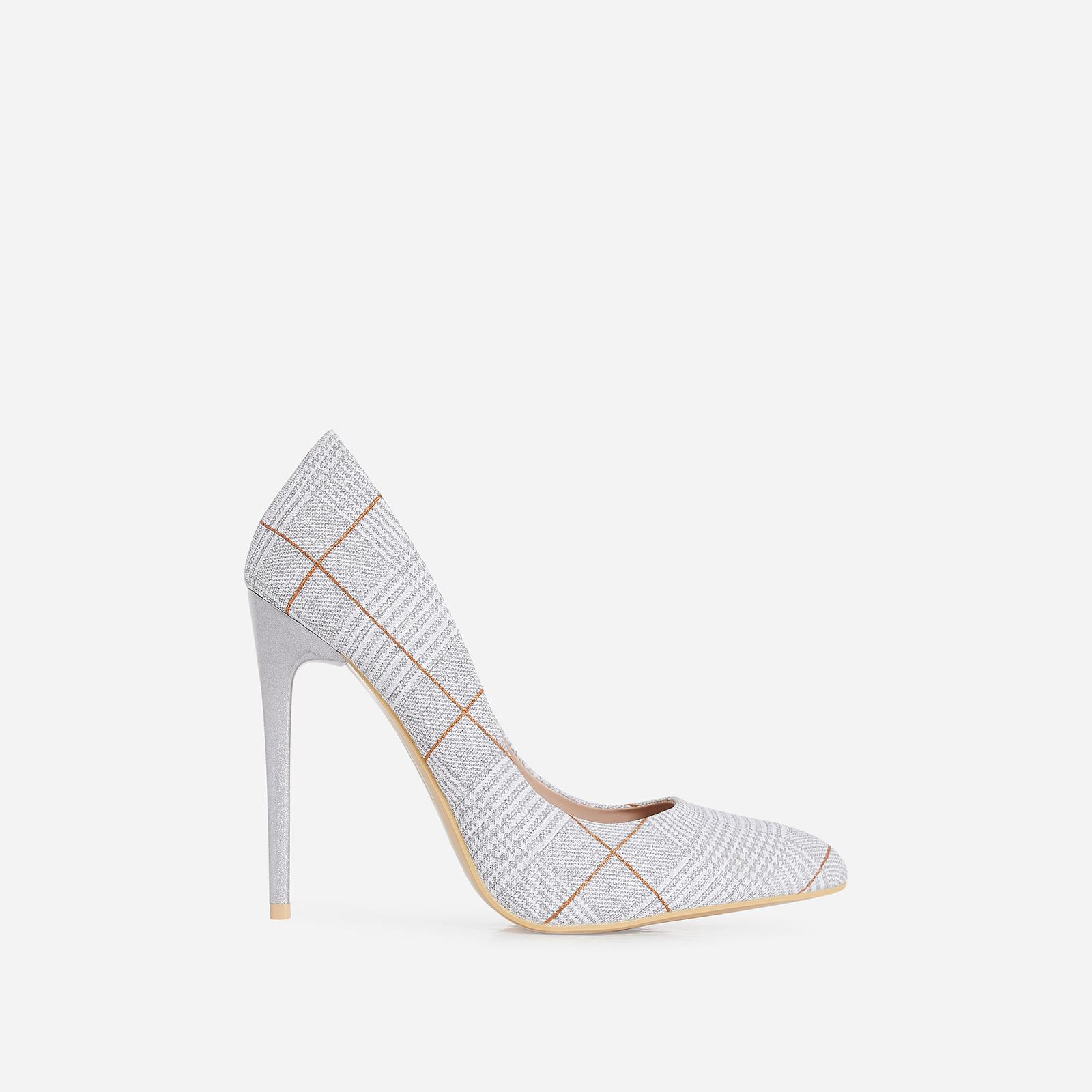 Gina Court Heel In Metallic Silver Tartan Fabric