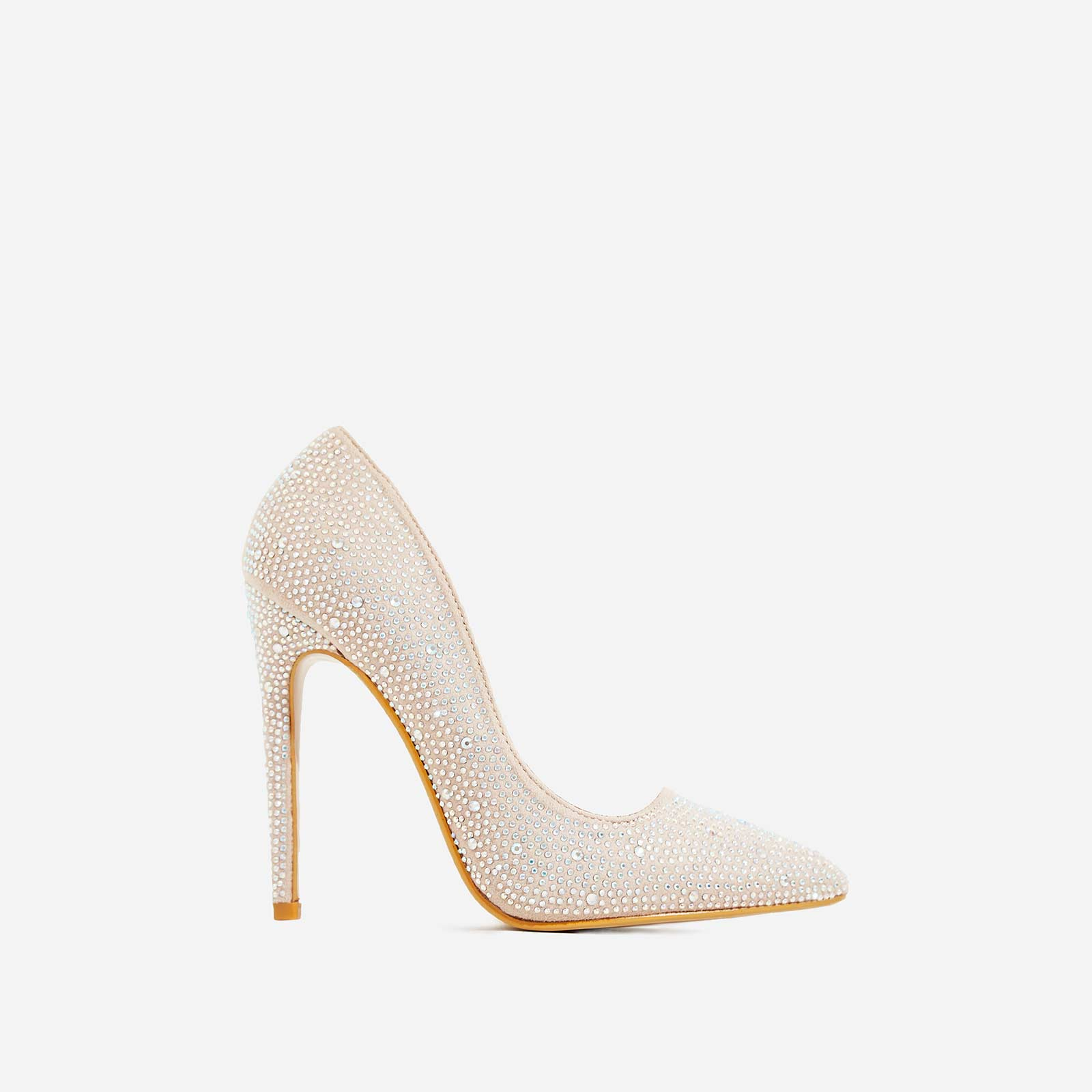Sapphire Diamante Court Heel In Nude Faux Suede