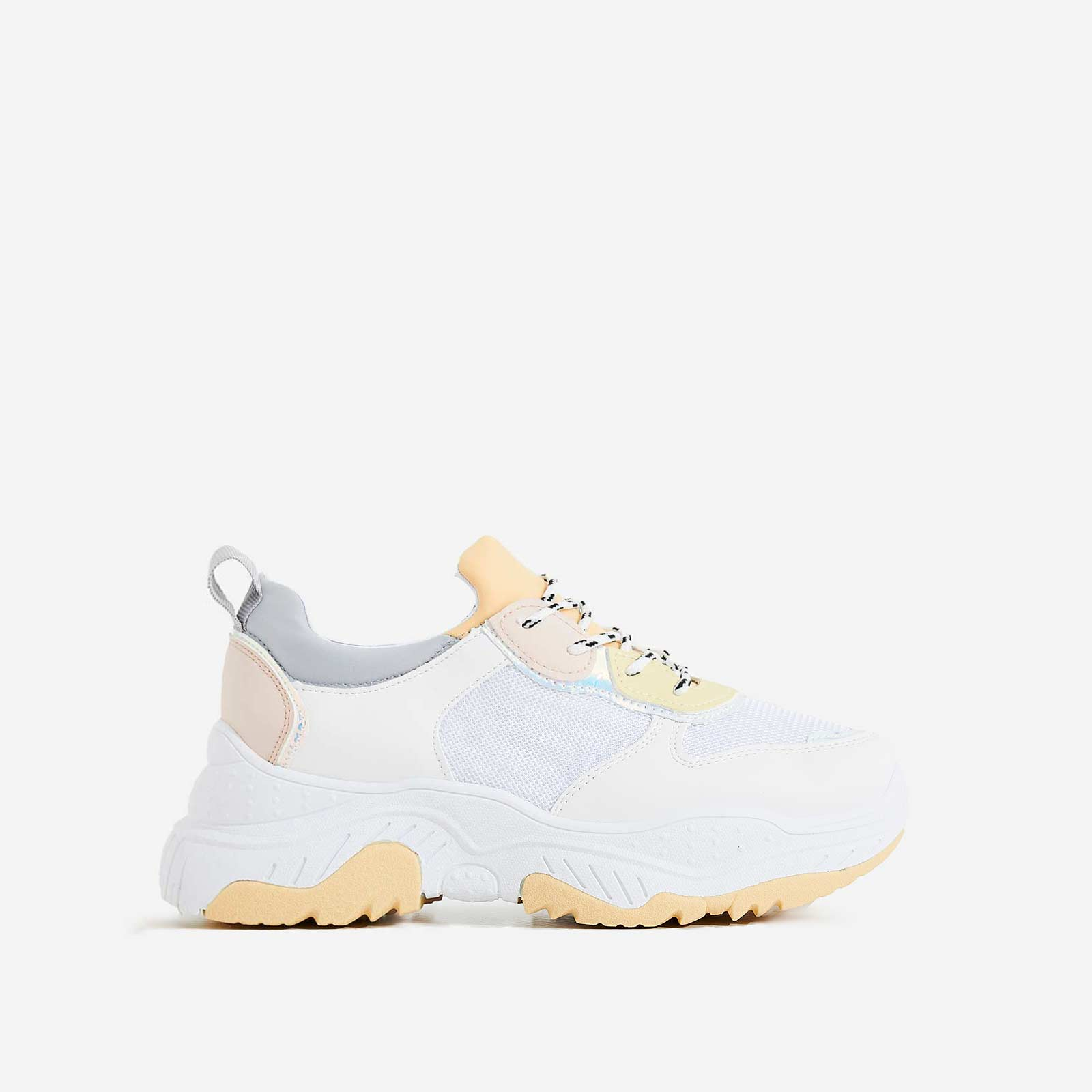 Alessio Chunky Sole Trainer In White and Yellow