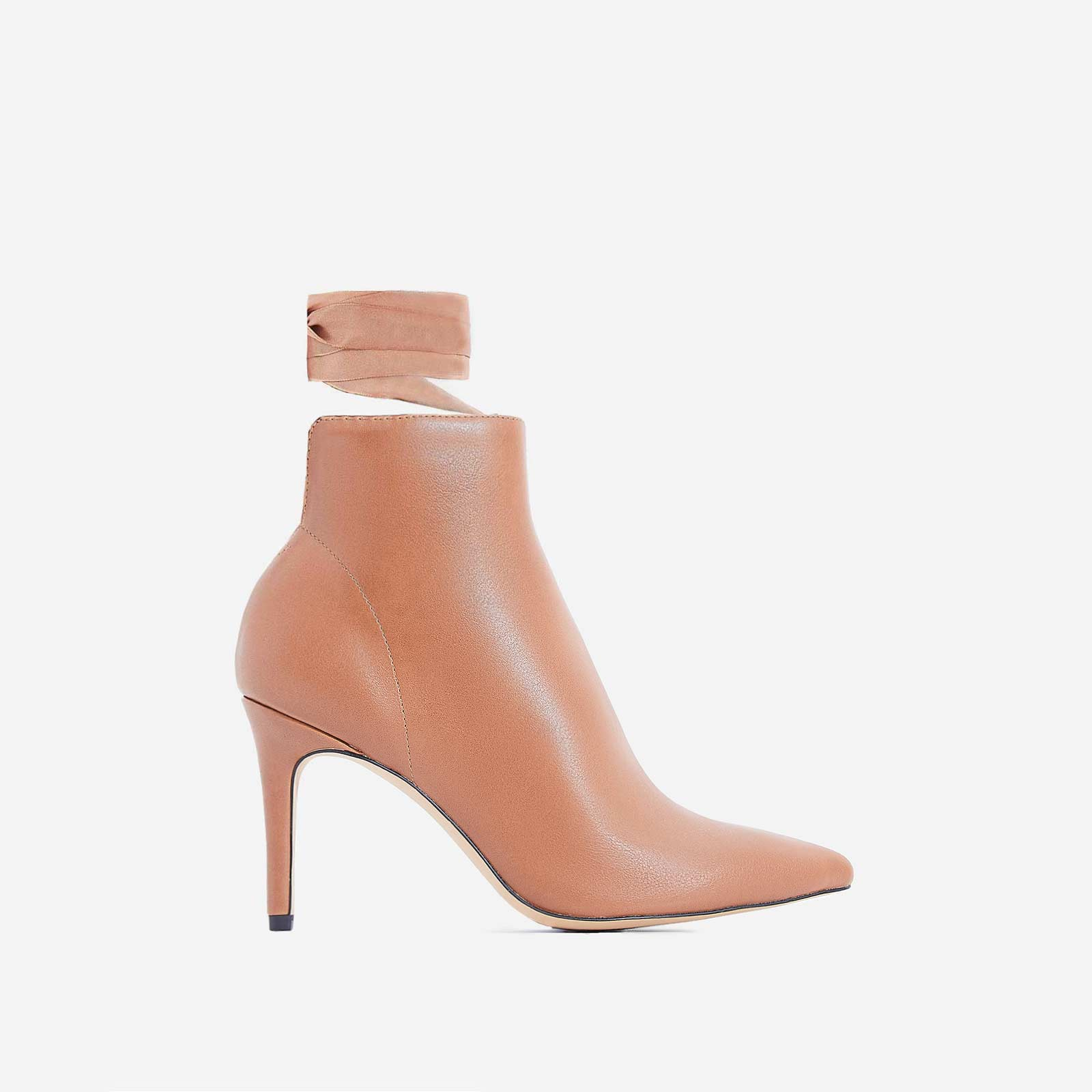 Becca Lace Up Ankle Boot In Tan Faux Leather