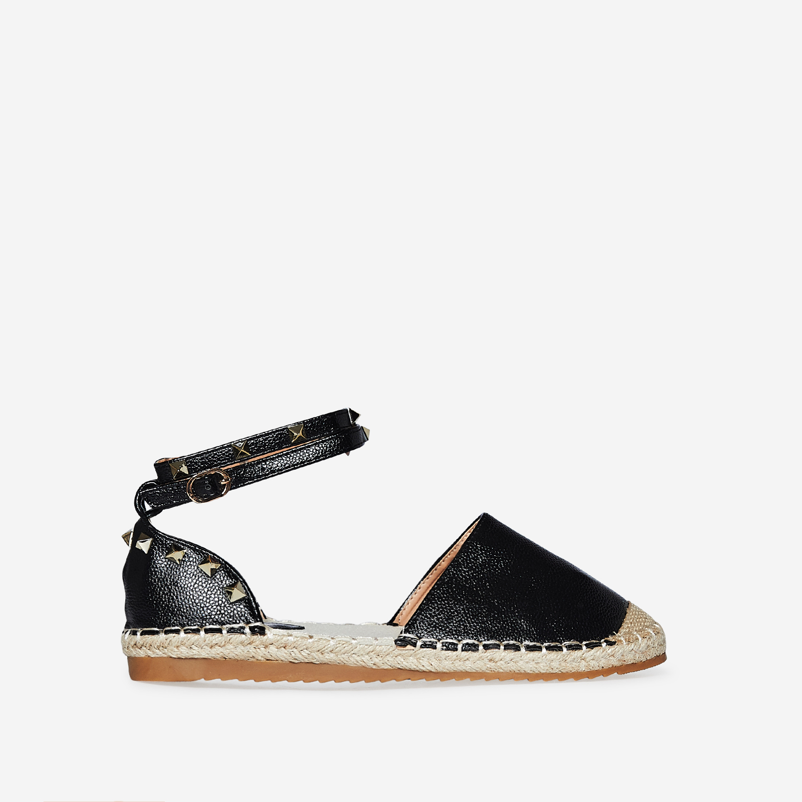 Belfast Studded Detail Espadrille In Black Faux Leather