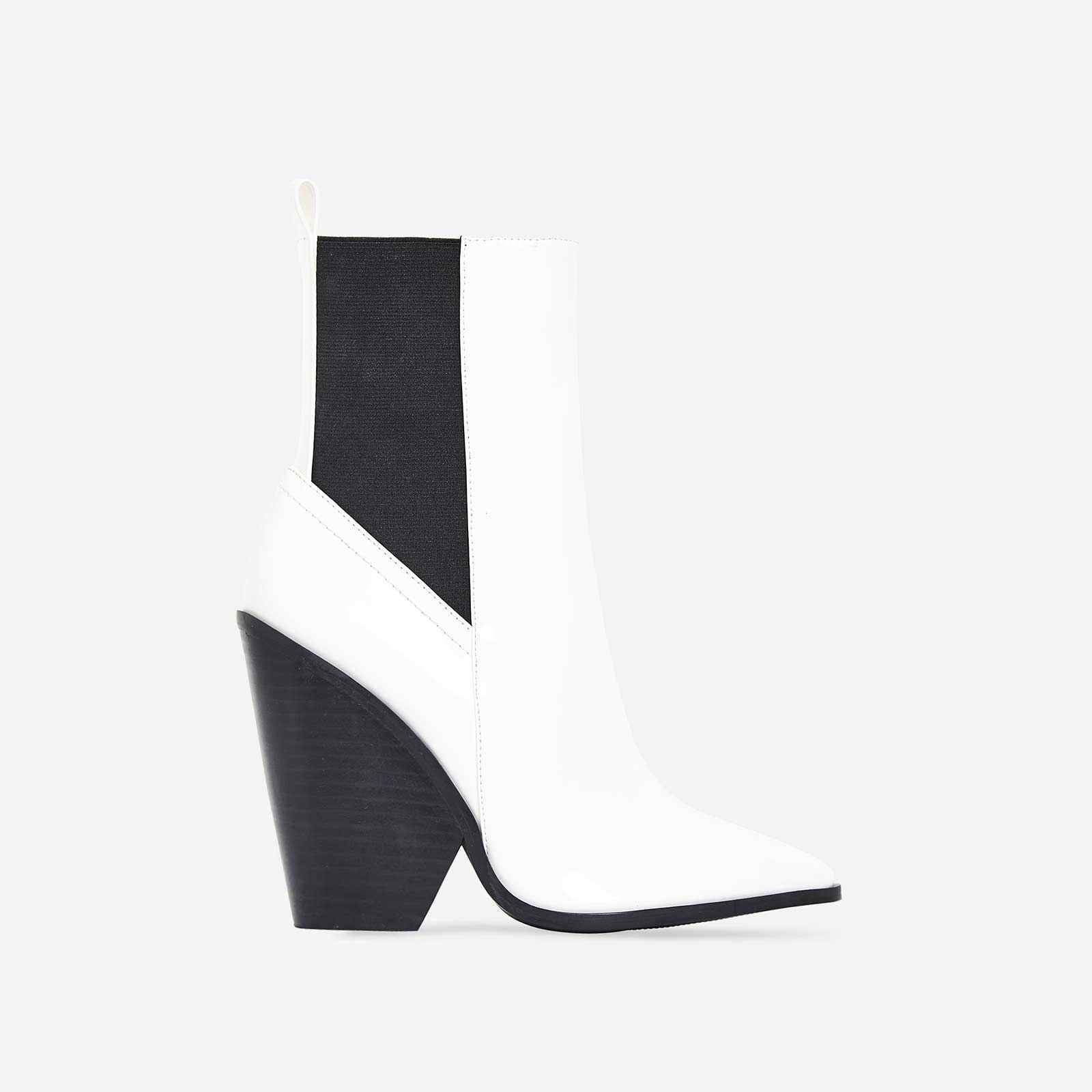 Bella Black Heel Ankle Boot In White Patent