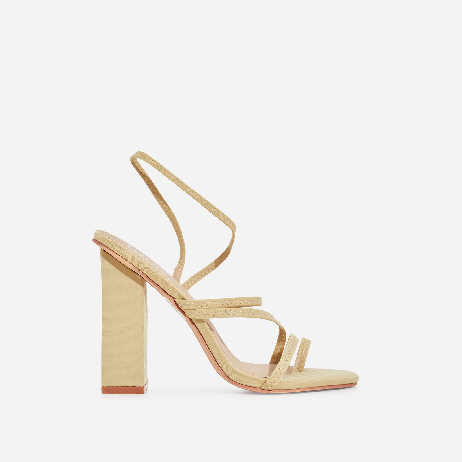 Bello-Ay Strappy Block Heel In Nude Lycra