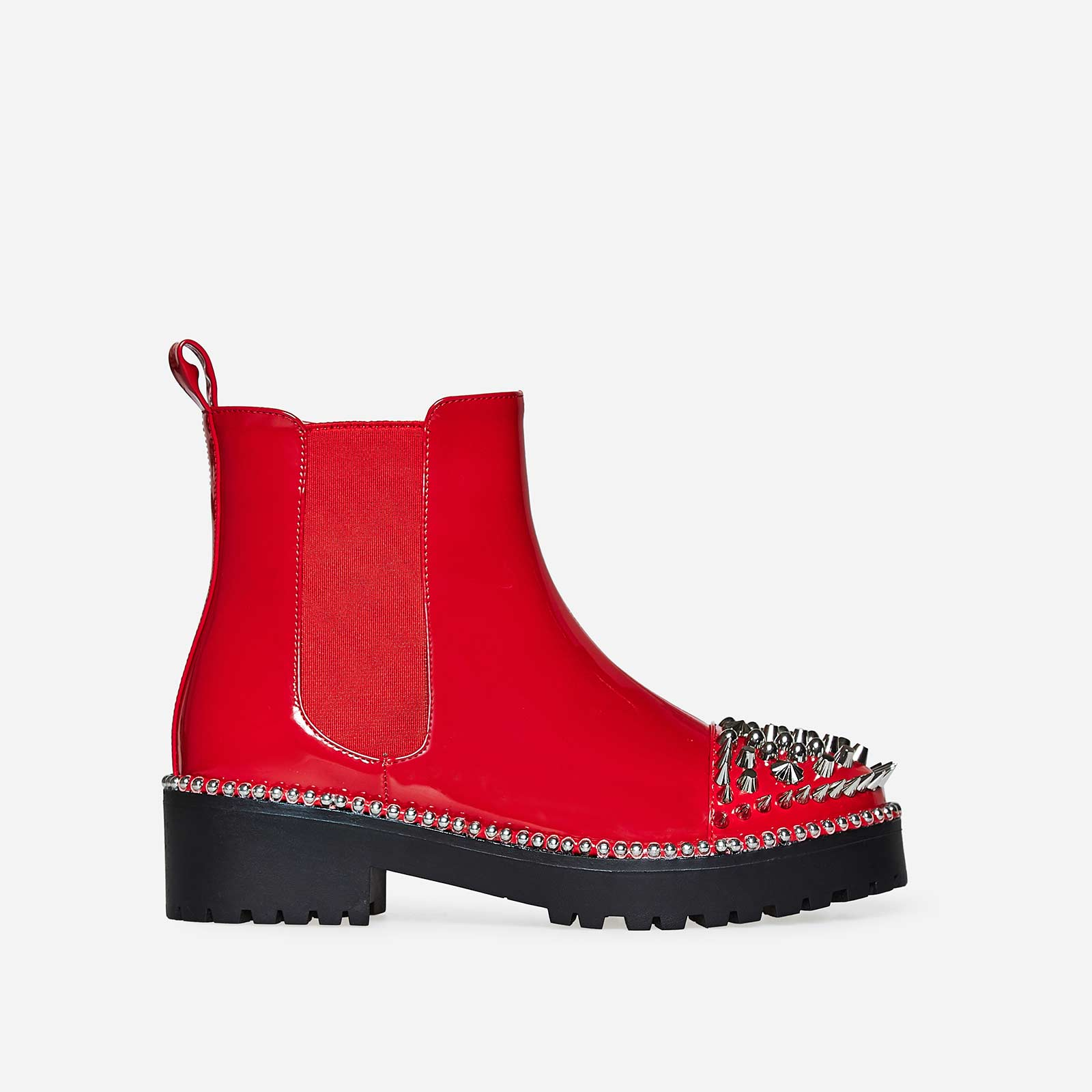 Blade Studded Detail Biker Boot In Red Patent