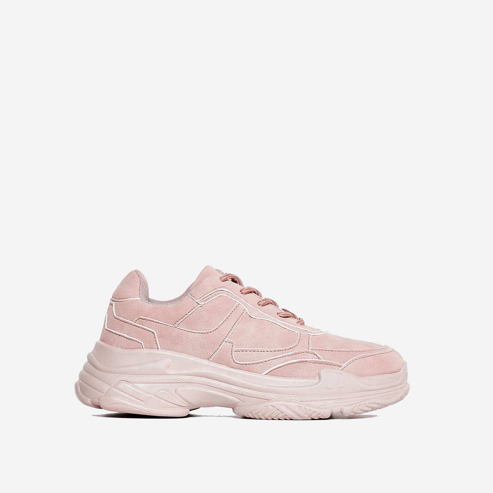 Blend Chunky Trainer In Blush Pink Faux Suede