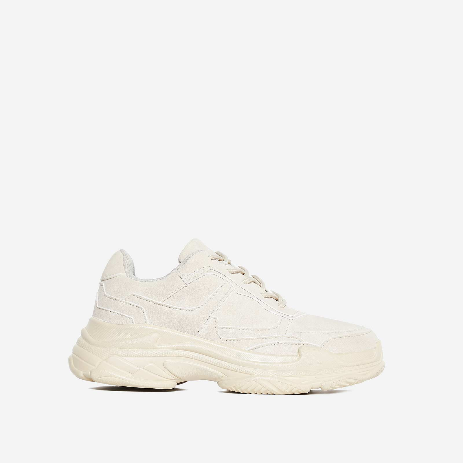 Blend Chunky Trainer In Nude Faux Suede