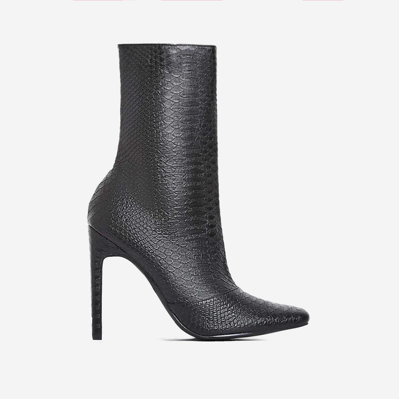 Boomslang Flat Heel Ankle Boot In Black Snake Print Faux Leather