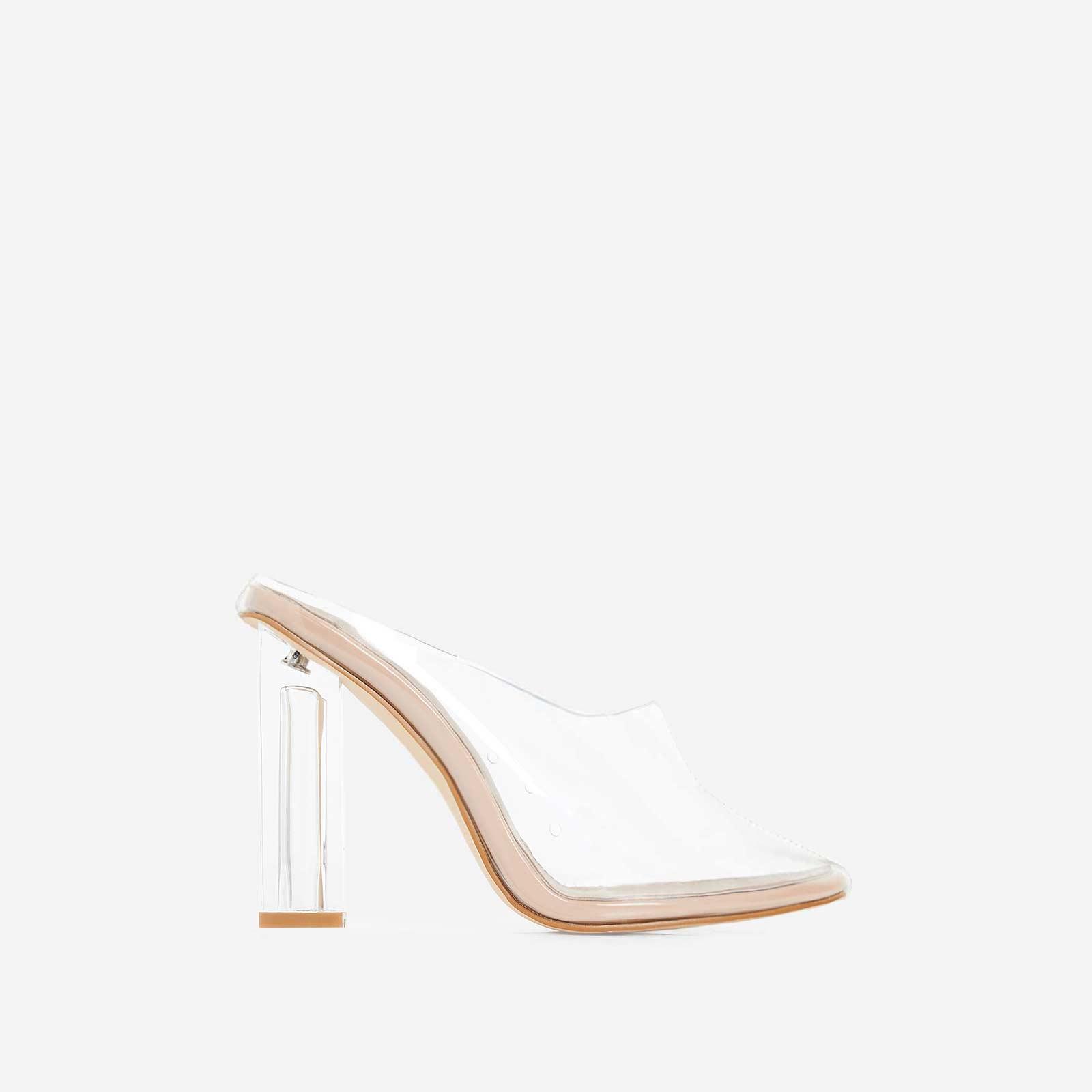 Brea Block Heel Perspex Heel In Nude Patent