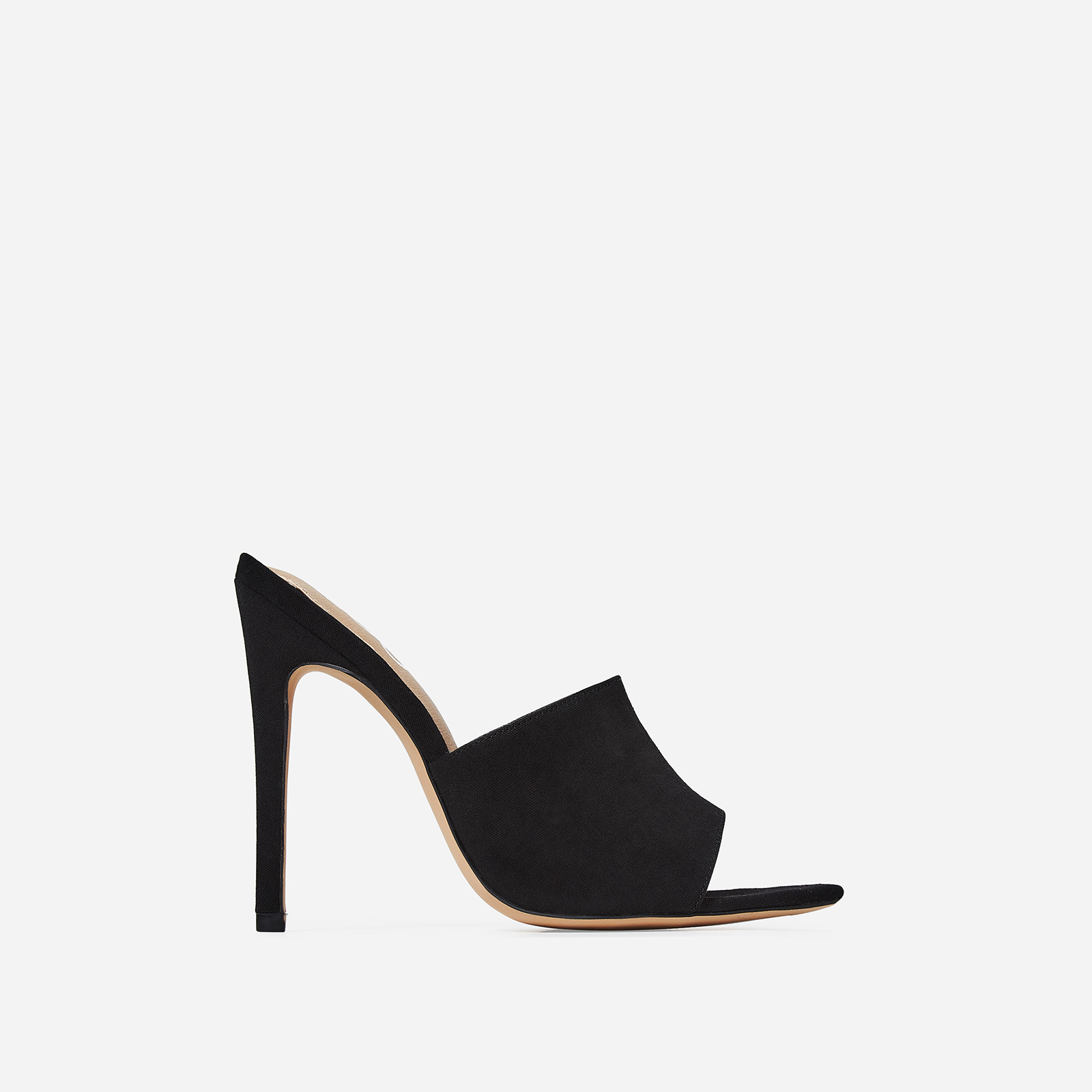 Briana Peep Toe Mule In Black Canvas