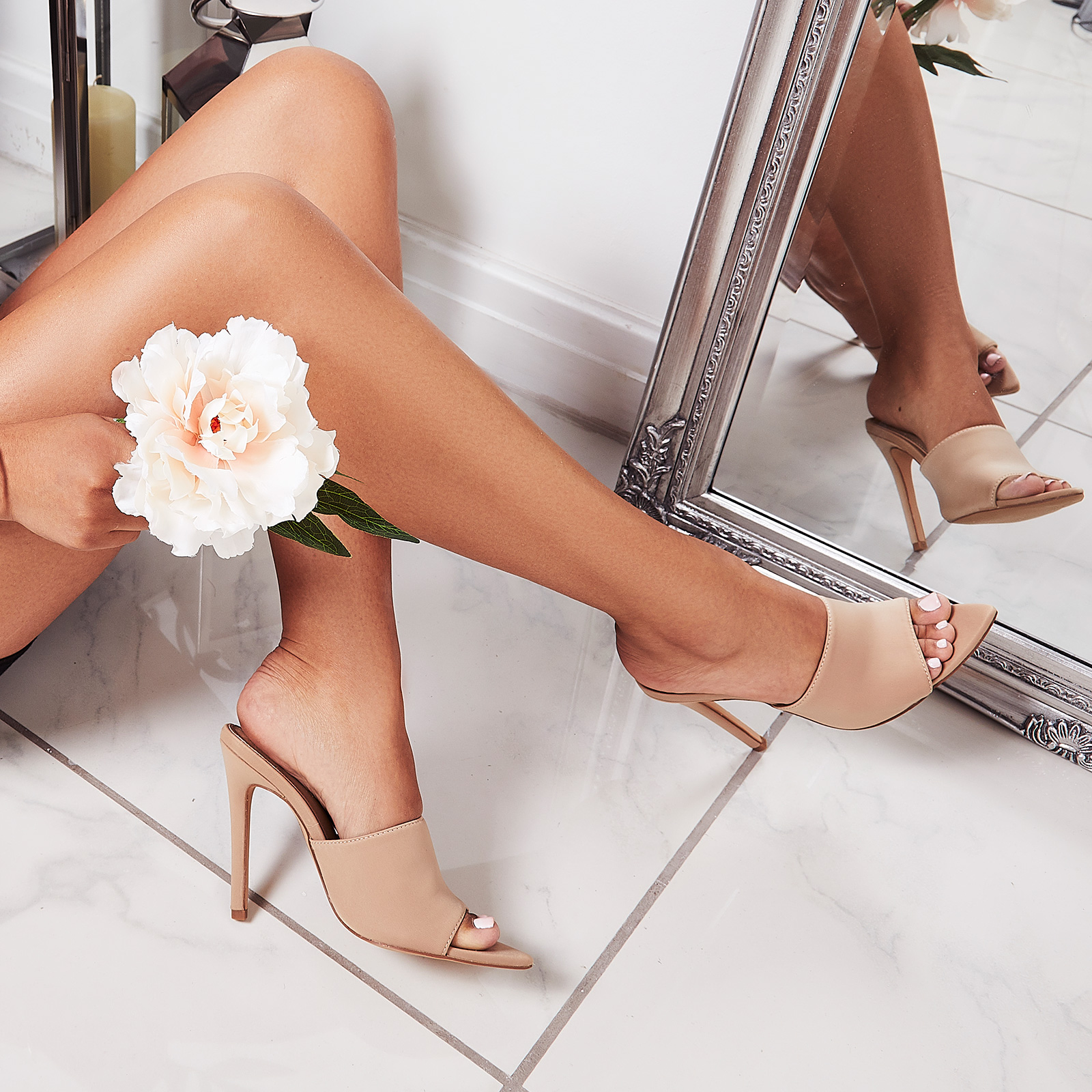 Briana Pointed Peep Toe Mule In Nude Lycra