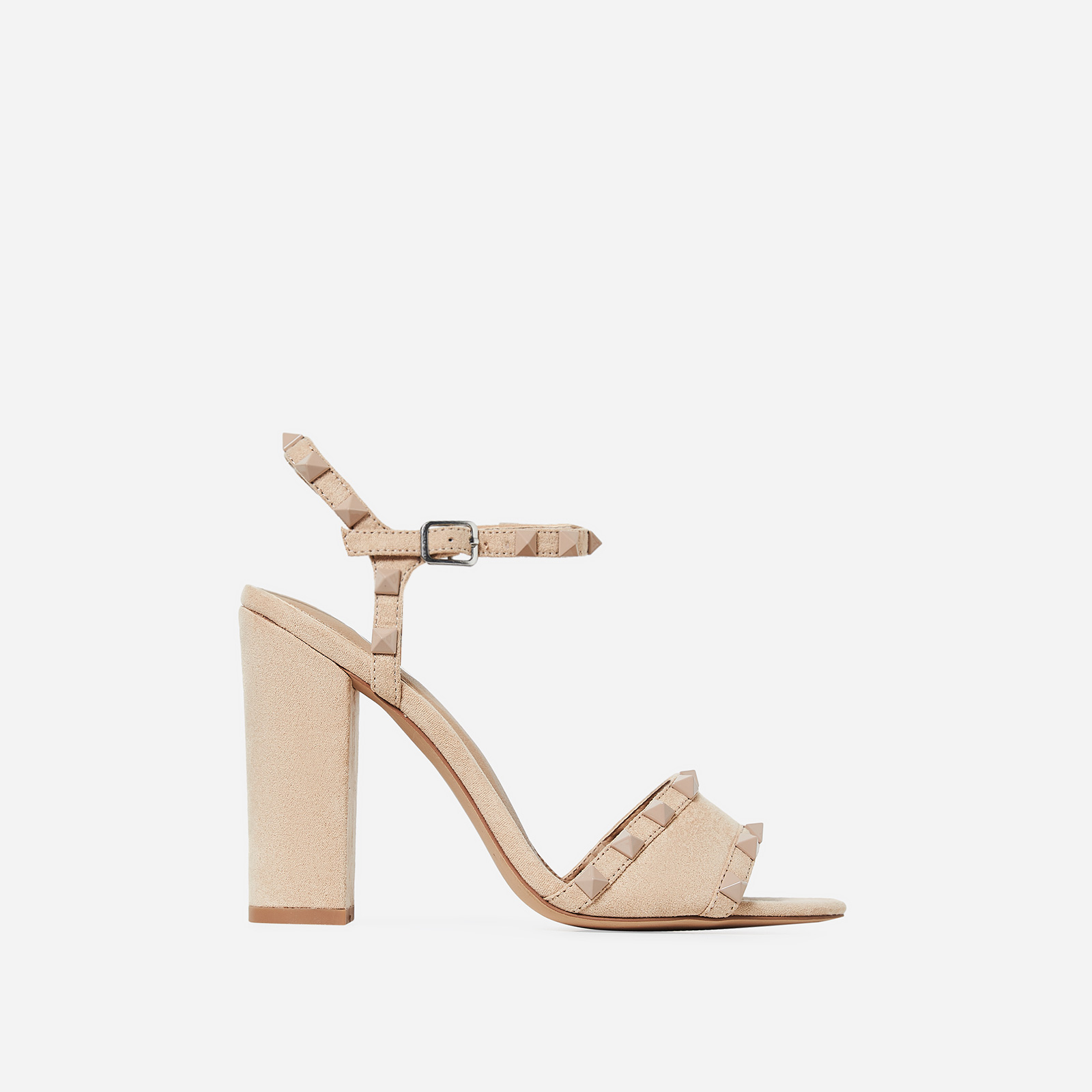 Britney Studded Detail Heel In Nude Faux Suede
