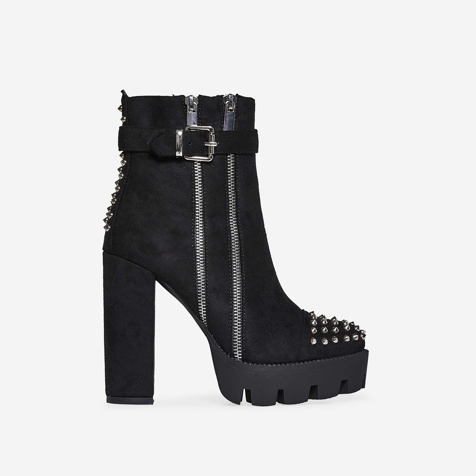 Brody Zip And Studded Detail Platfrom Biker Boot In Black Faux Suede