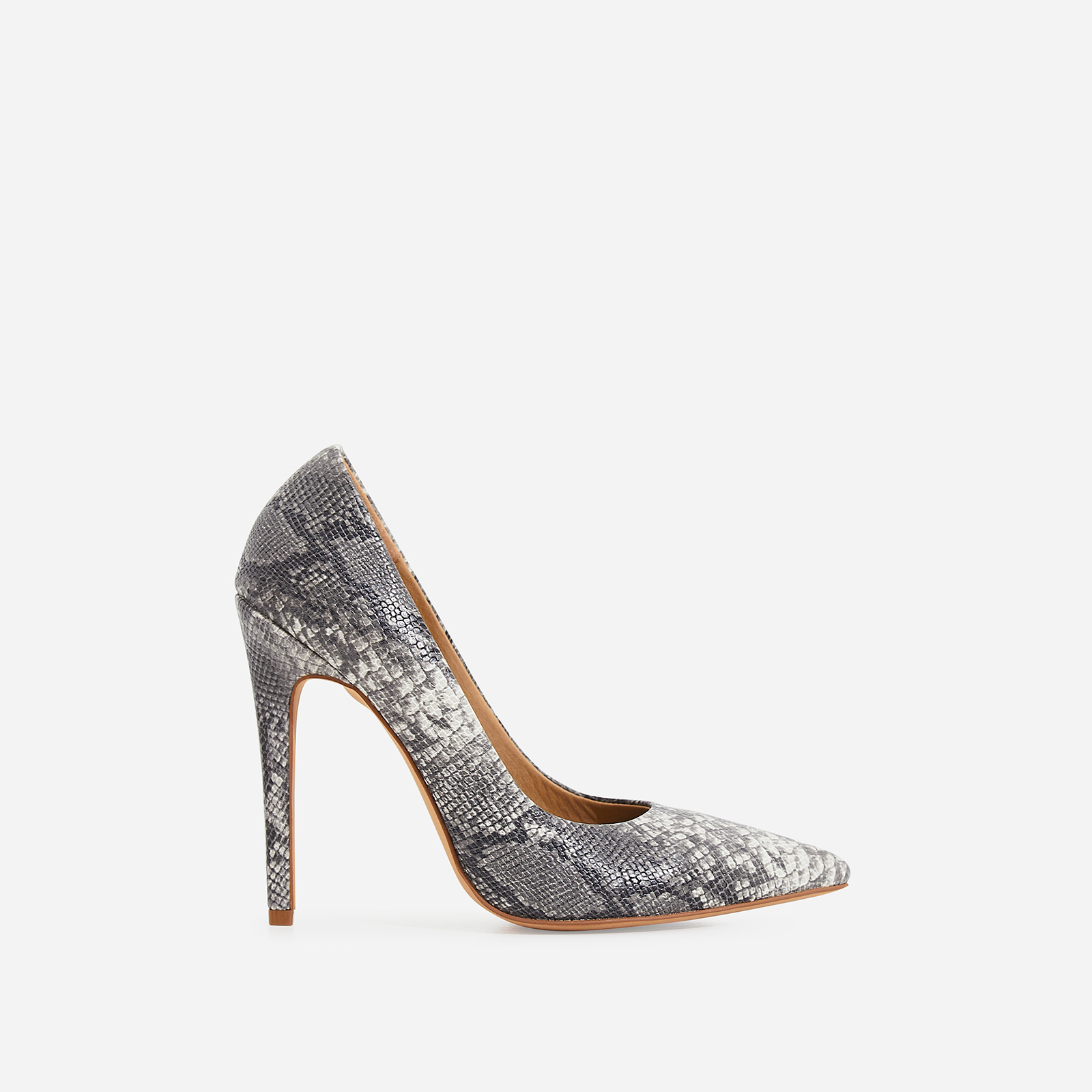 Bronte Court Heel In Grey Snake Print Faux Leather