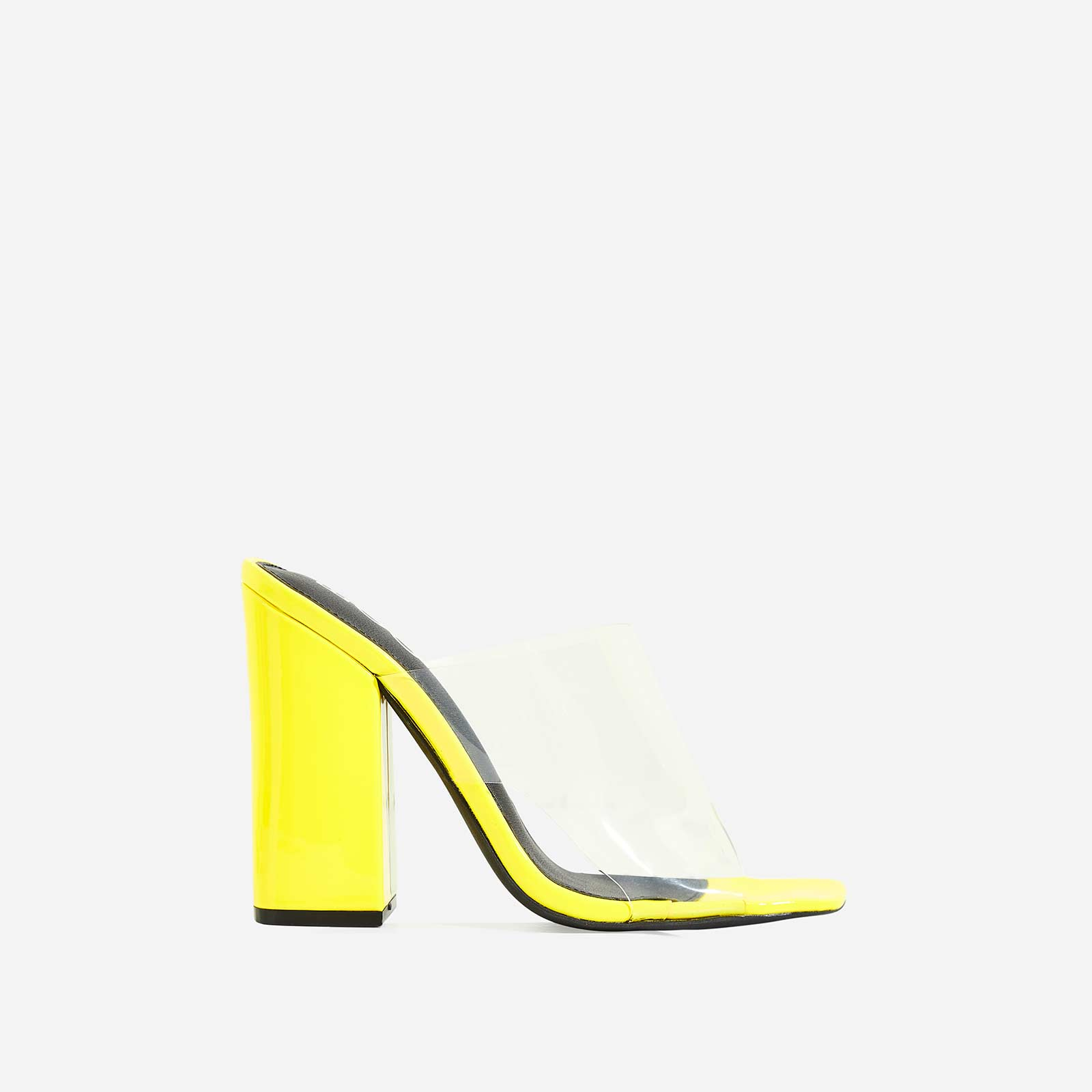 Brooke Block Heel Perspex Peep Toe Mule In Yellow Patent