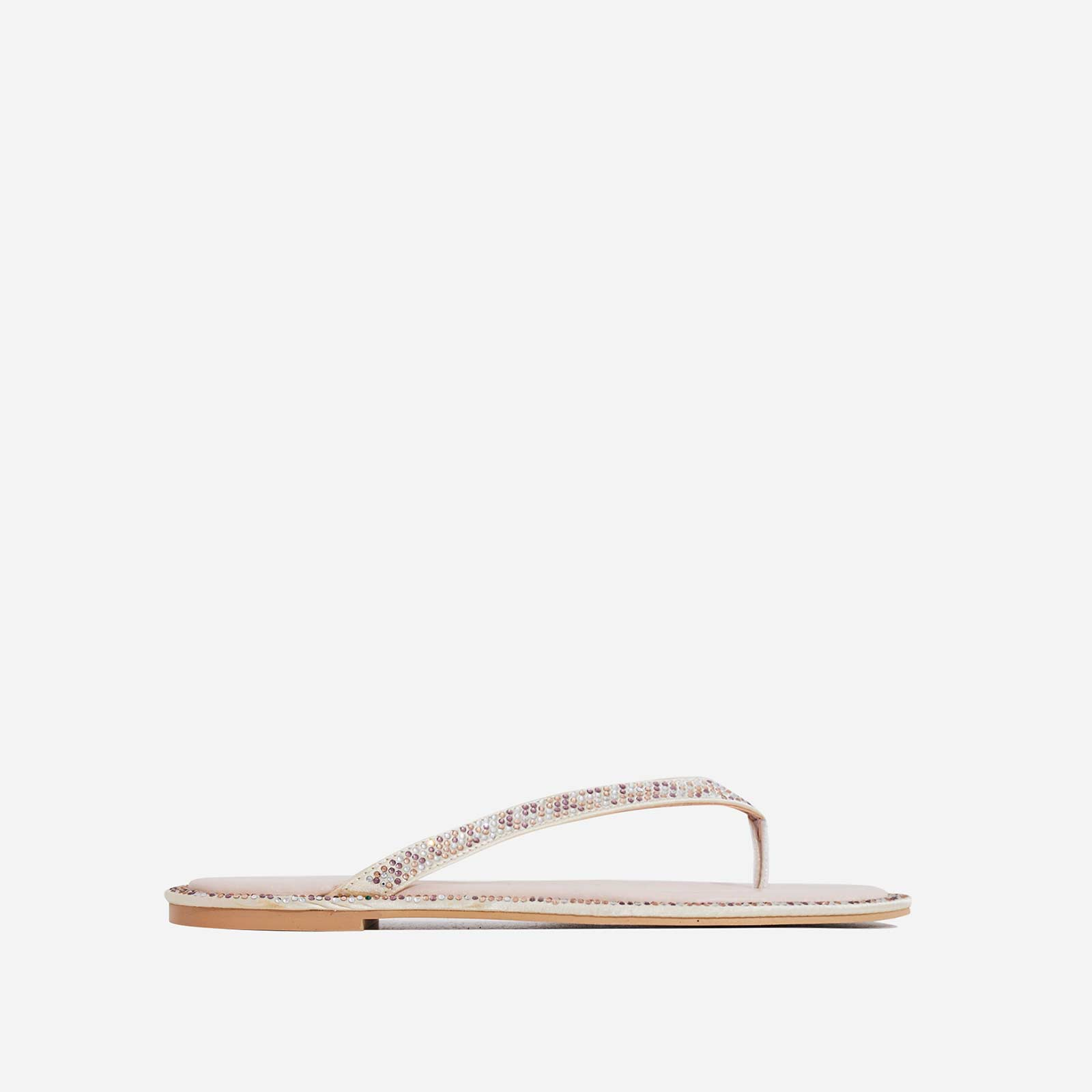 Butterfly Diamante Detail Flat Sandal In Nude Faux Leather