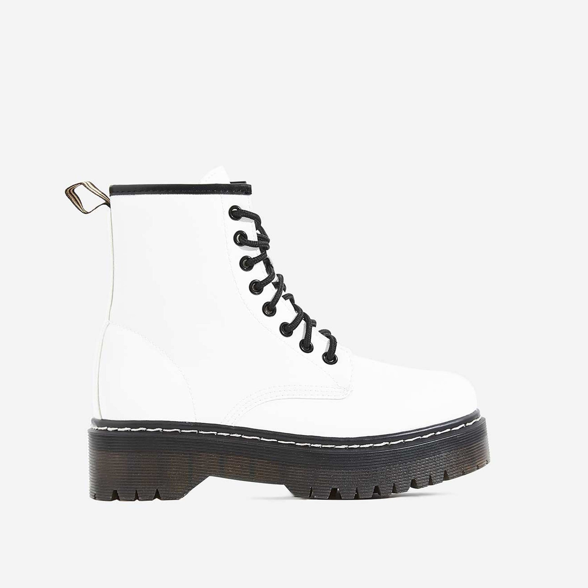 Adler Chunky Sole Lace Up Ankle Biker Boot In White Faux Leather