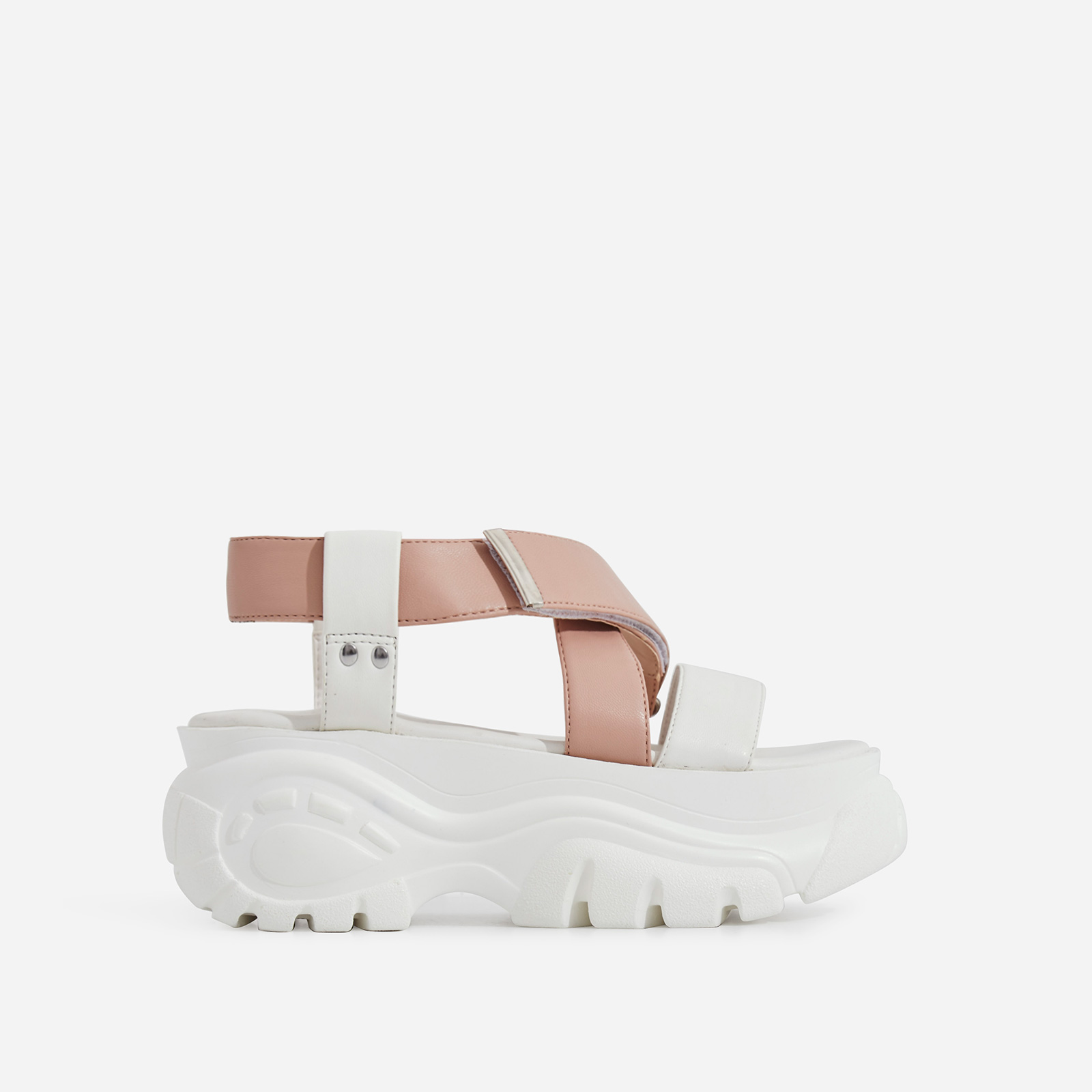 Cai Chunky Sole Sandal In Nude Faux Leather