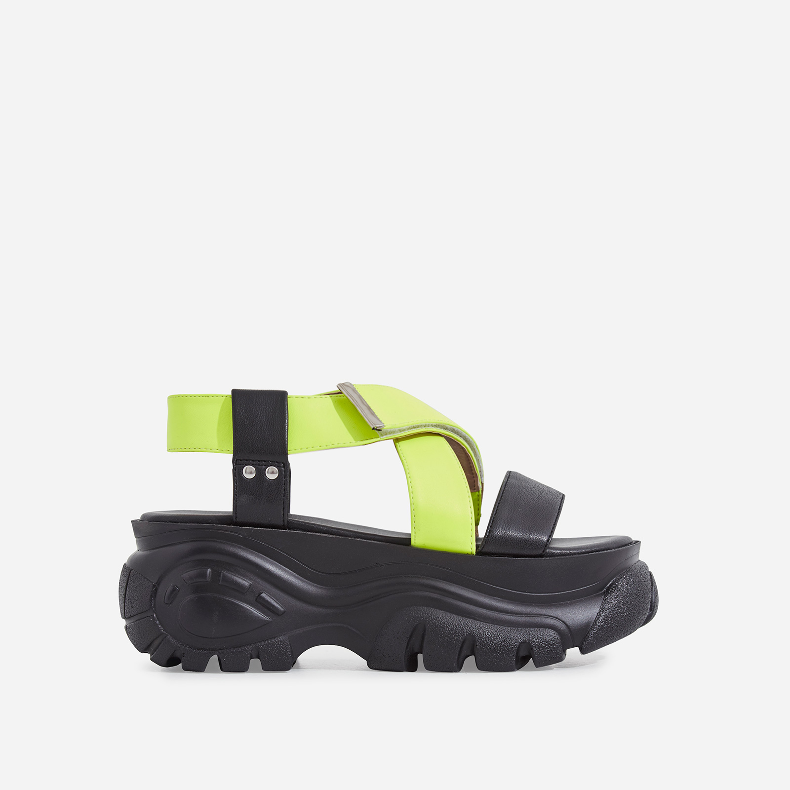 Cai Chunky Sole Sandal In Neon Yellow Faux Leather