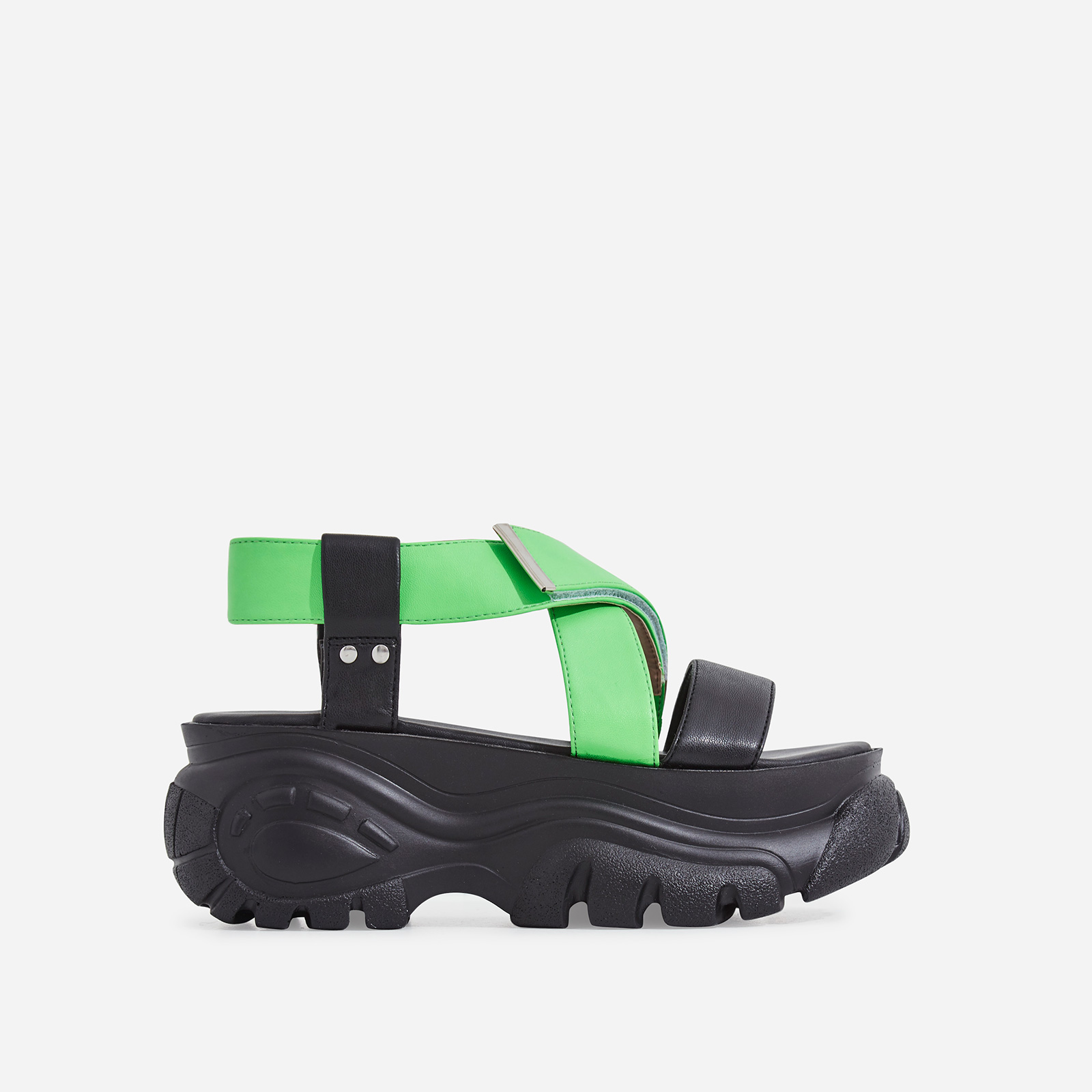 Cai Chunky Sole Sandal In Neon Green Faux Leather