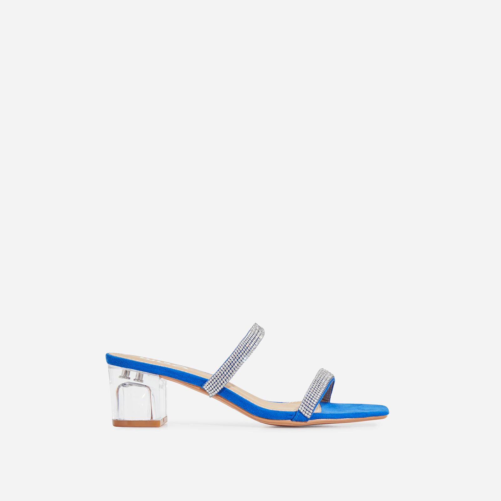 Cameo Diamante Detail Square Toe Perspex Midi Block Heel Mule In Blue Faux Suede