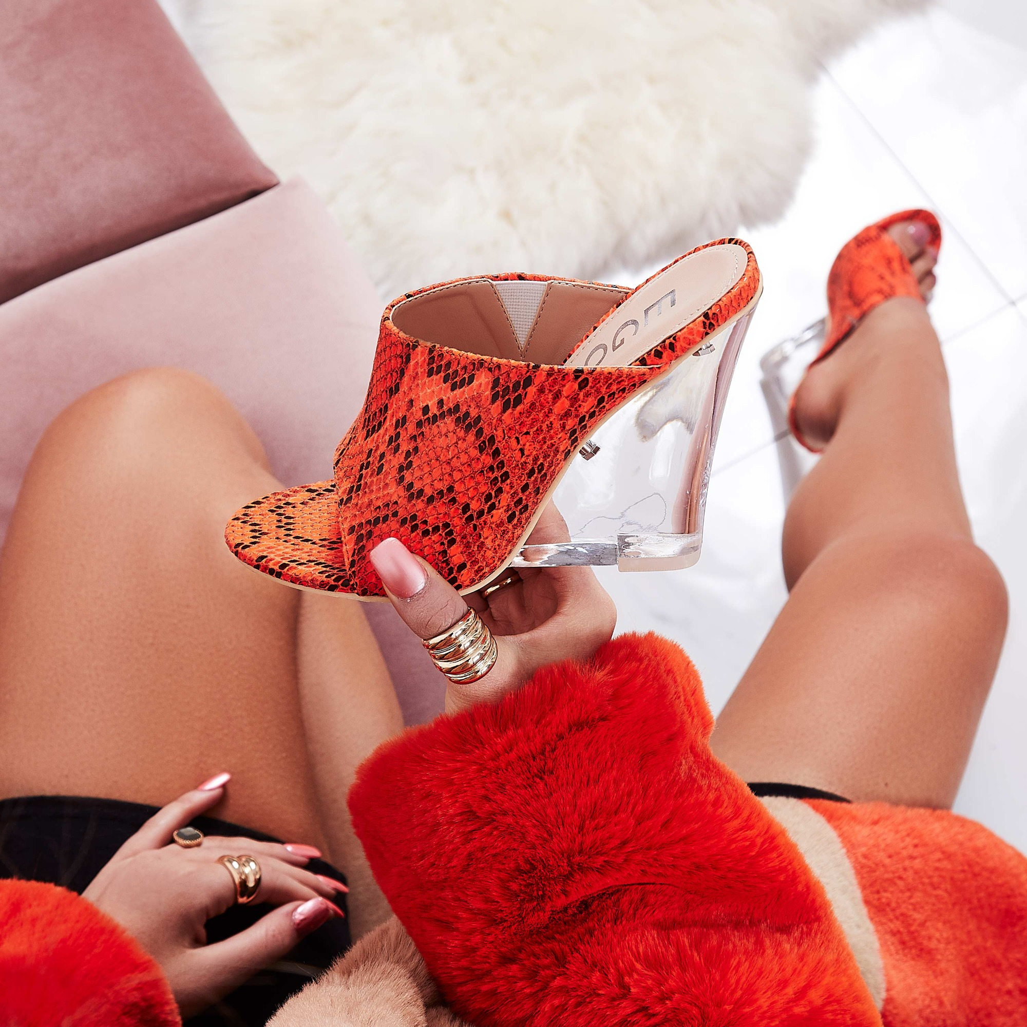 Candy Perspex Wedge Peep Toe Mule In Orange Snake Print Faux Leather