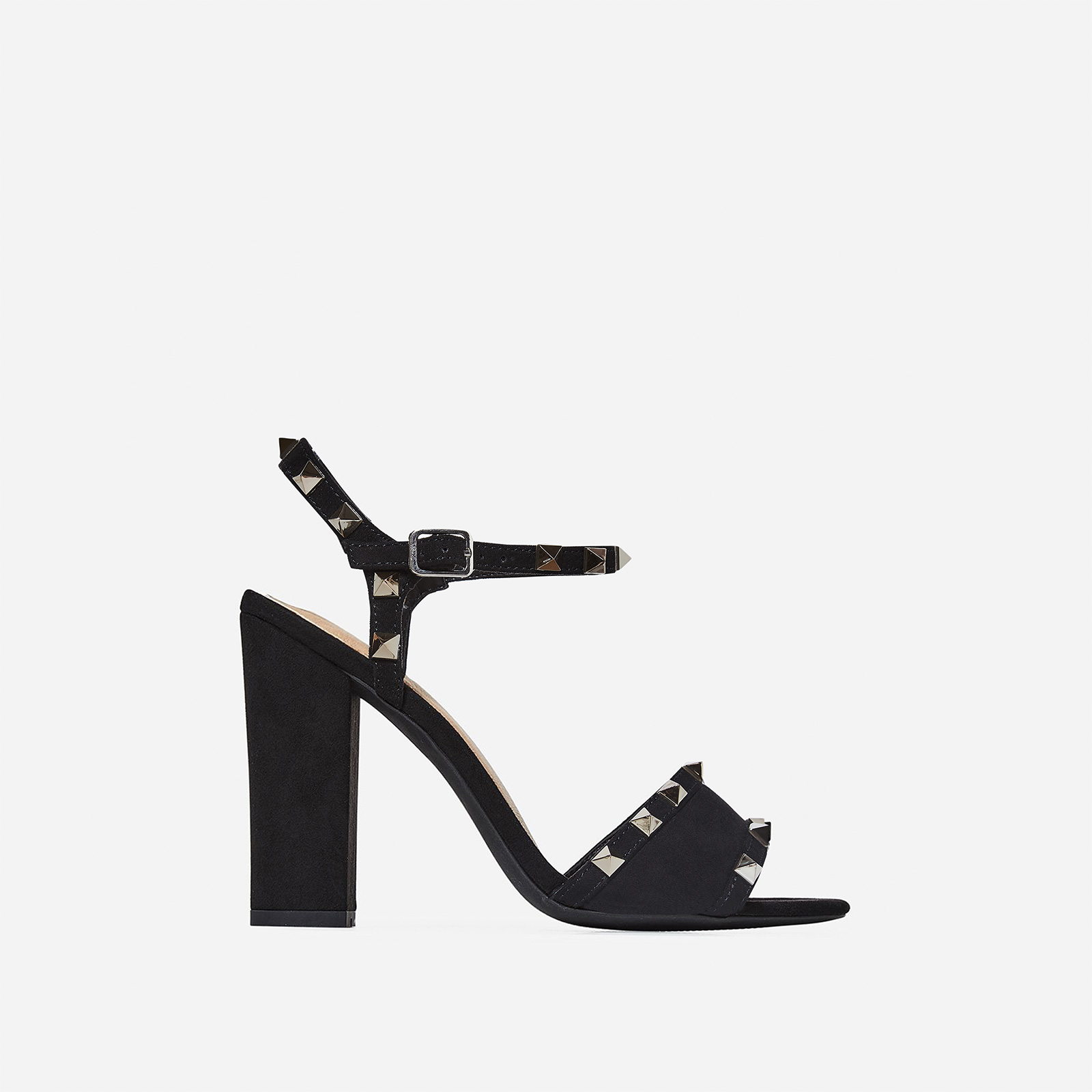 Britney Studded Detail Heel In Black Faux Suede