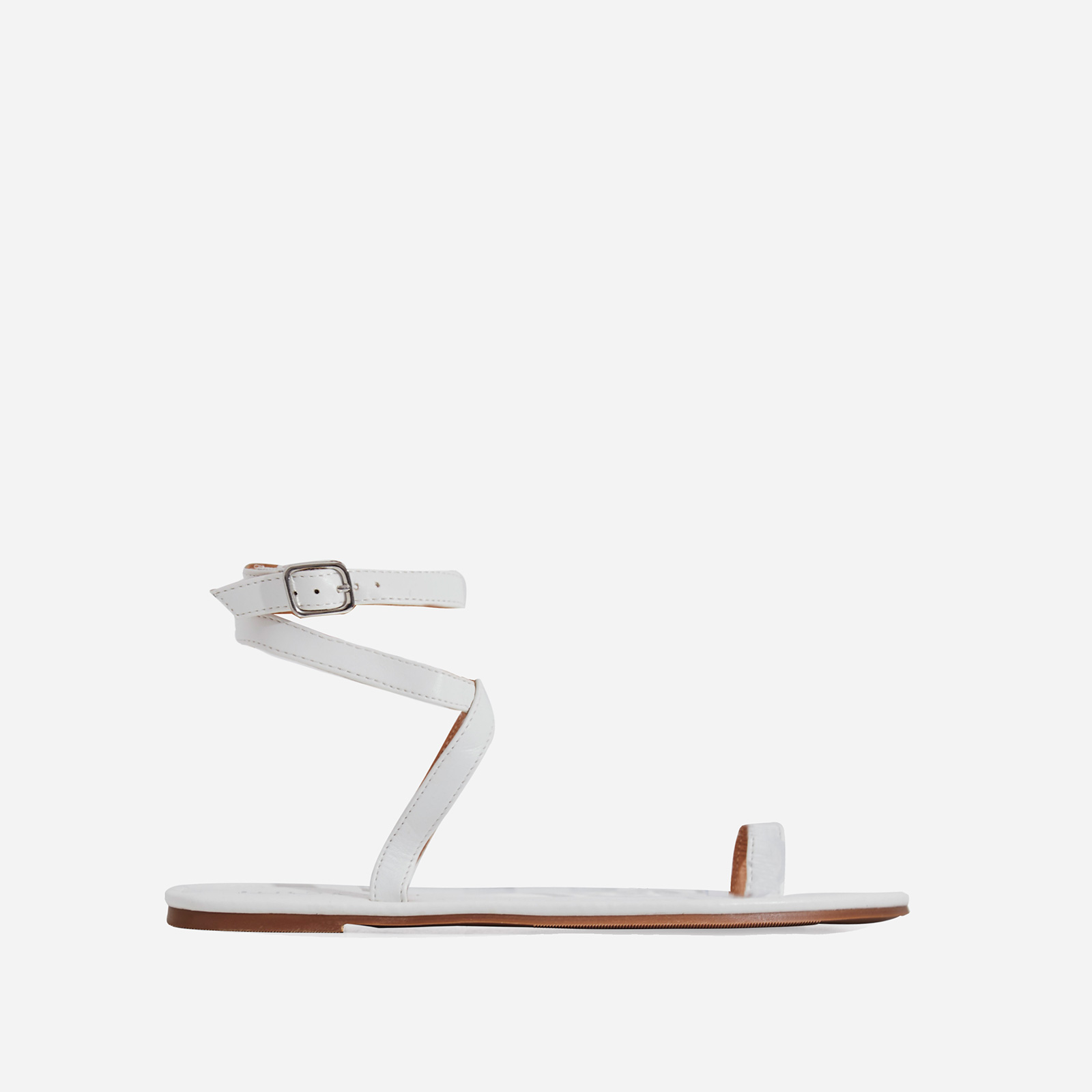 Cara Lace Up Toe Strap Flat Sandal In White Faux Leather