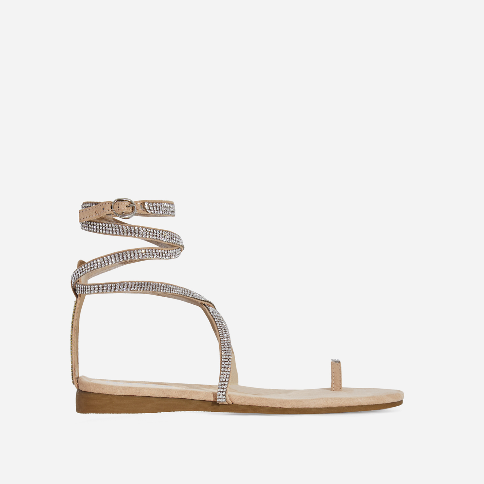 Carat Diamante Lace Up Toe Strap Gladiator Sandal In Nude Faux Suede